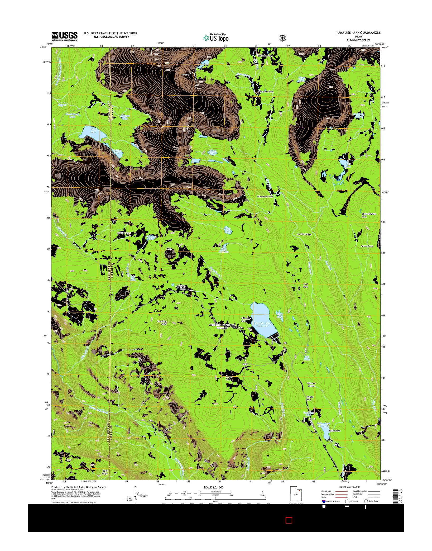 USGS US TOPO 7.5-MINUTE MAP FOR PARADISE PARK, UT 2014