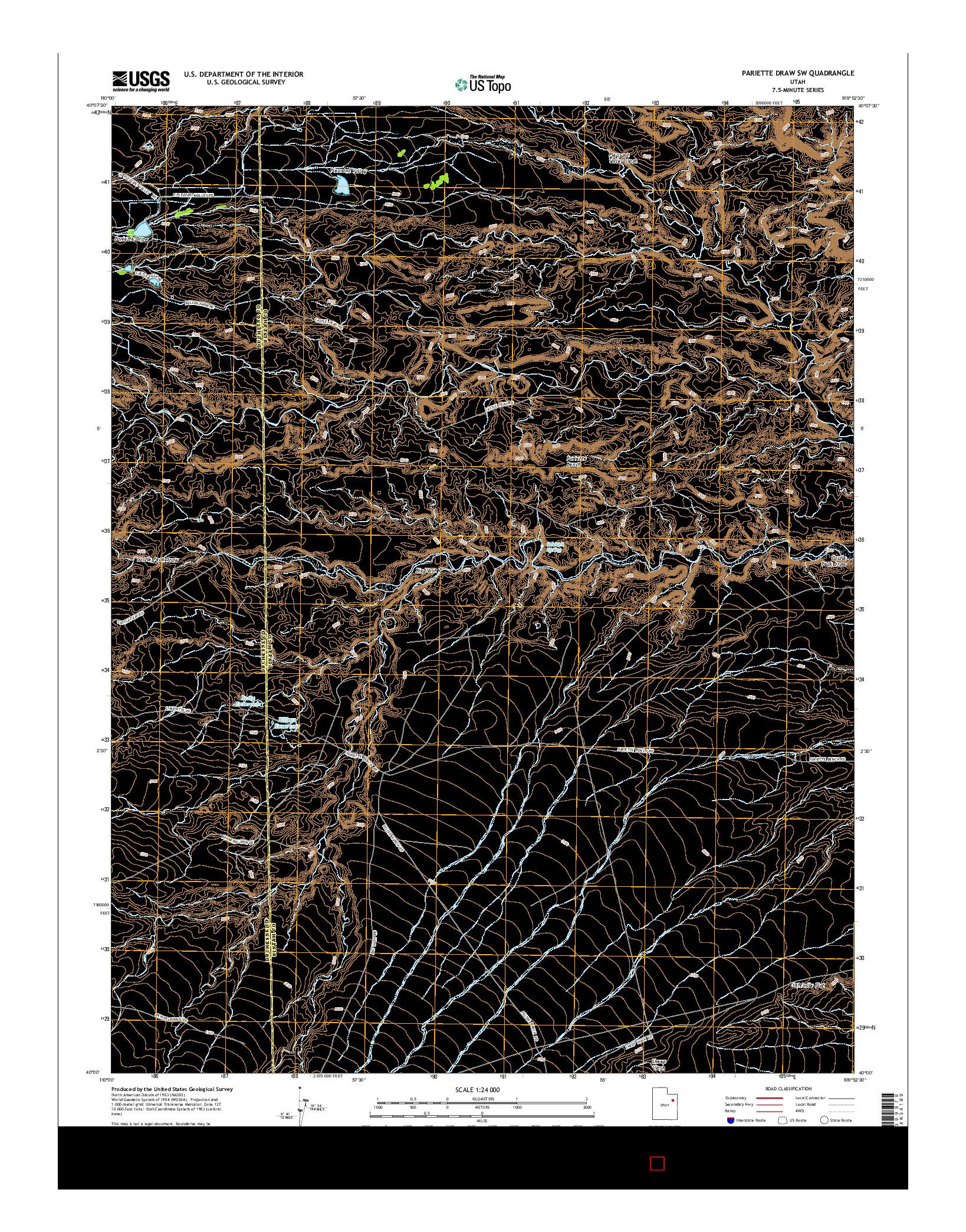 USGS US TOPO 7.5-MINUTE MAP FOR PARIETTE DRAW SW, UT 2014