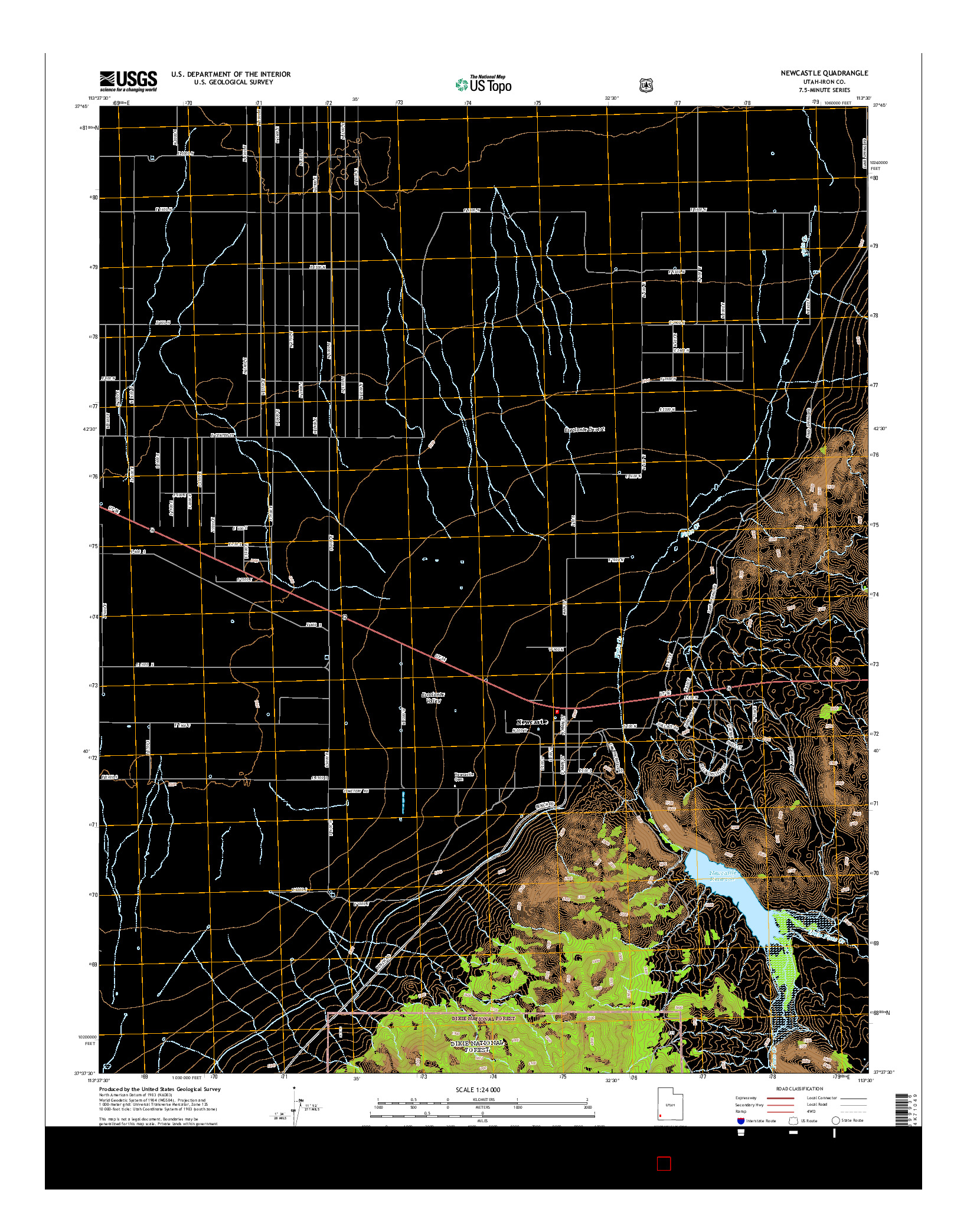 USGS US TOPO 7.5-MINUTE MAP FOR NEWCASTLE, UT 2014