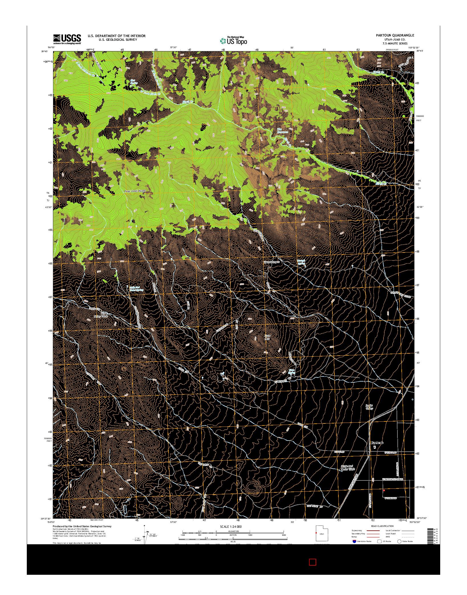 USGS US TOPO 7.5-MINUTE MAP FOR PARTOUN, UT 2014
