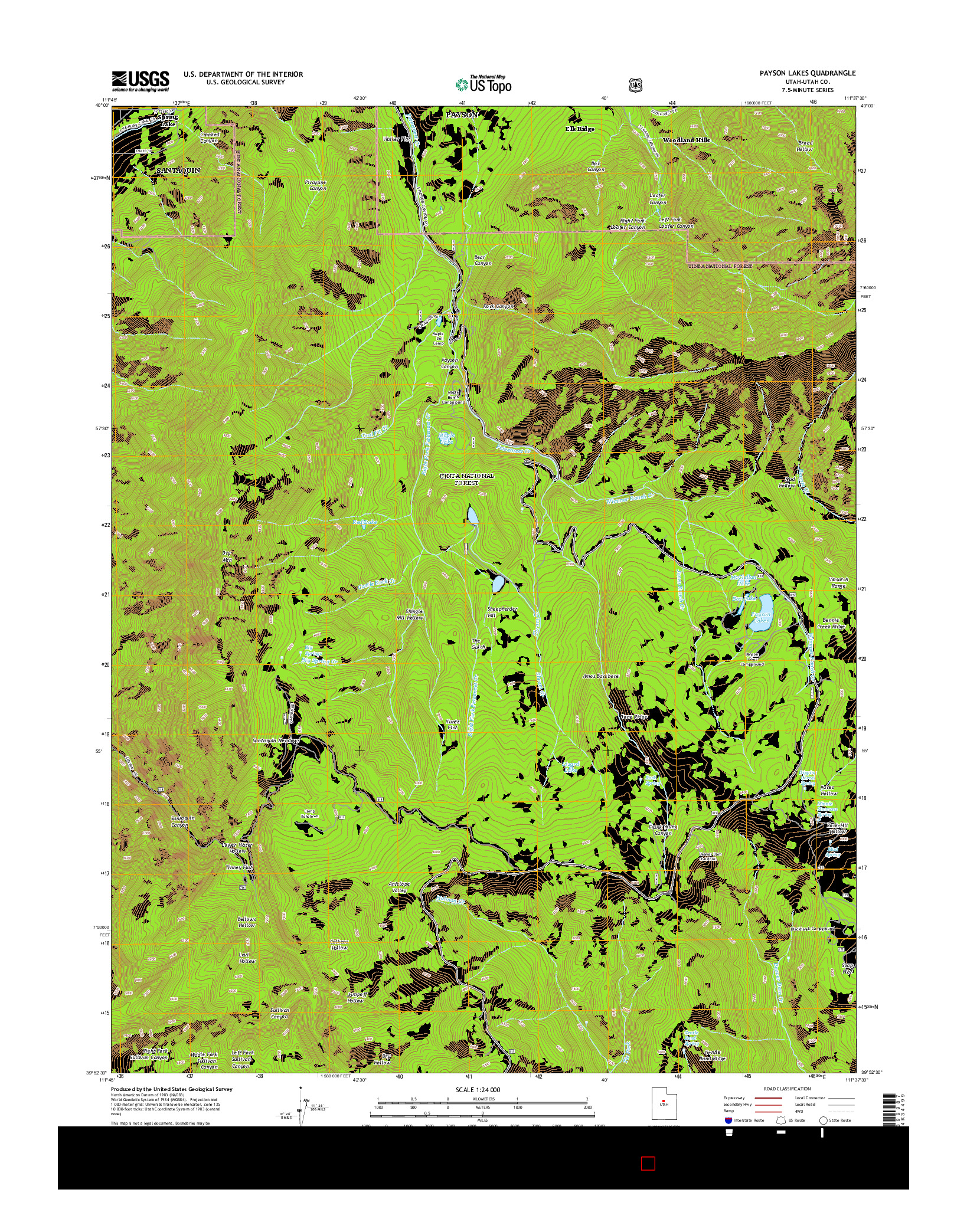 USGS US TOPO 7.5-MINUTE MAP FOR PAYSON LAKES, UT 2014