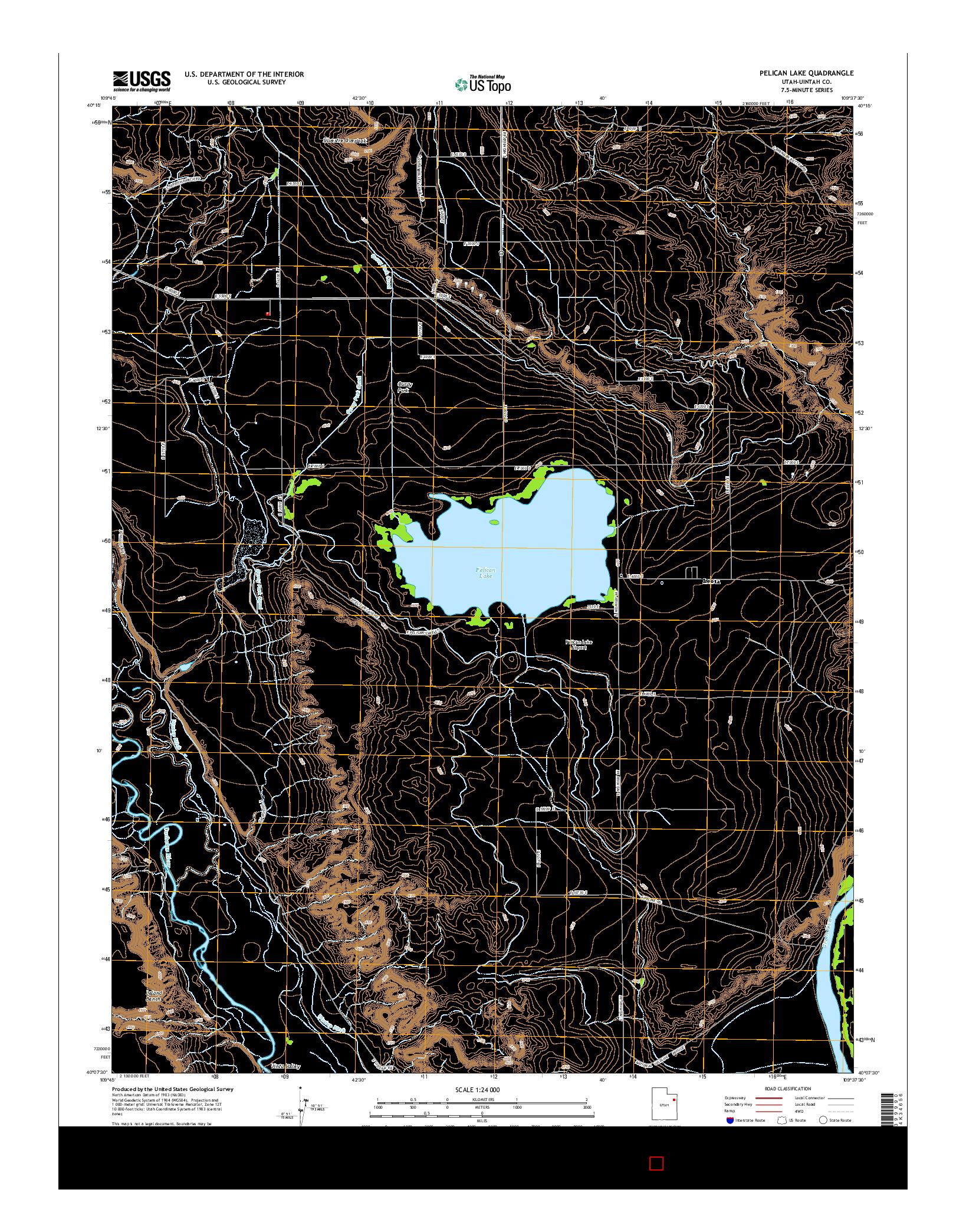 USGS US TOPO 7.5-MINUTE MAP FOR PELICAN LAKE, UT 2014
