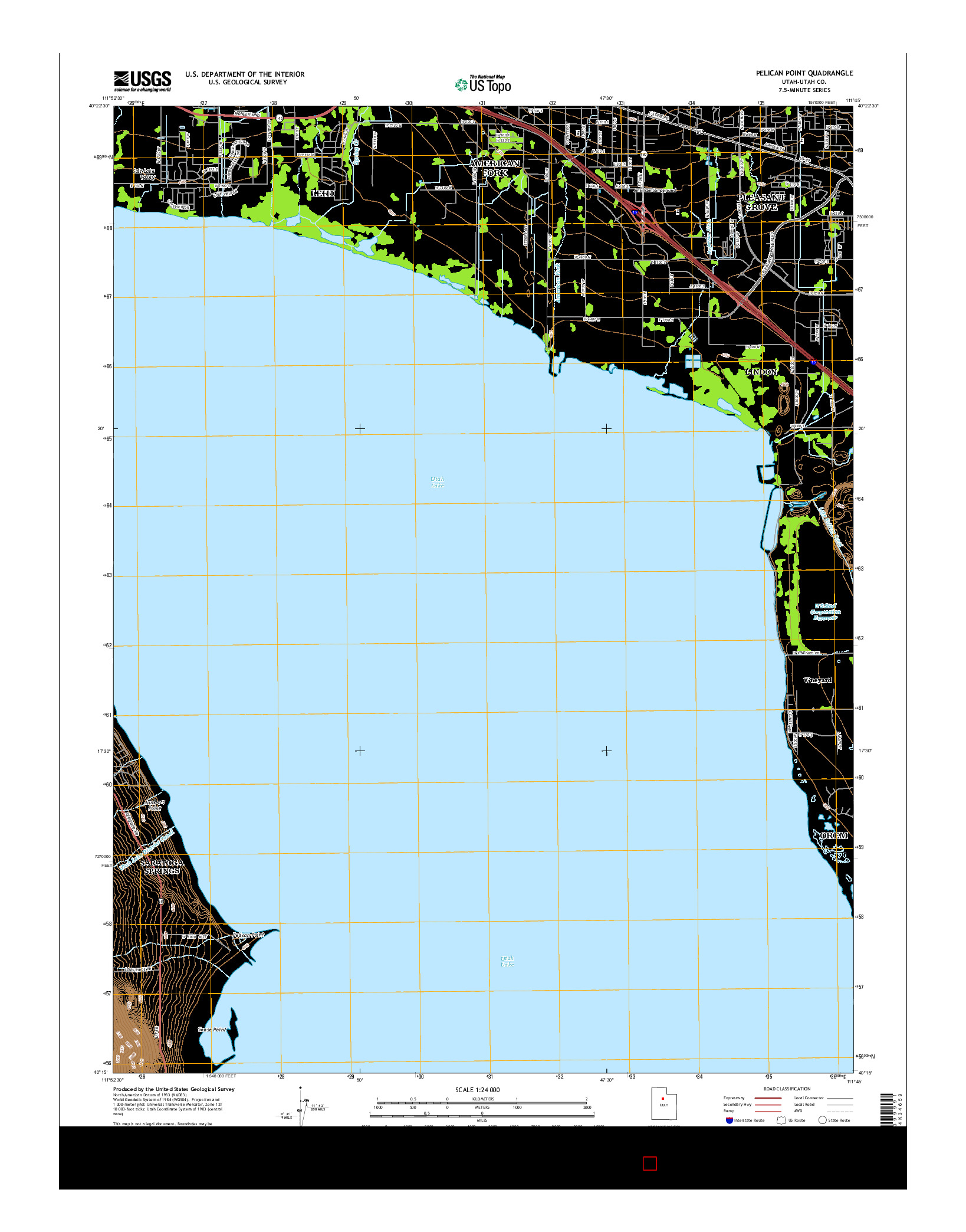 USGS US TOPO 7.5-MINUTE MAP FOR PELICAN POINT, UT 2014