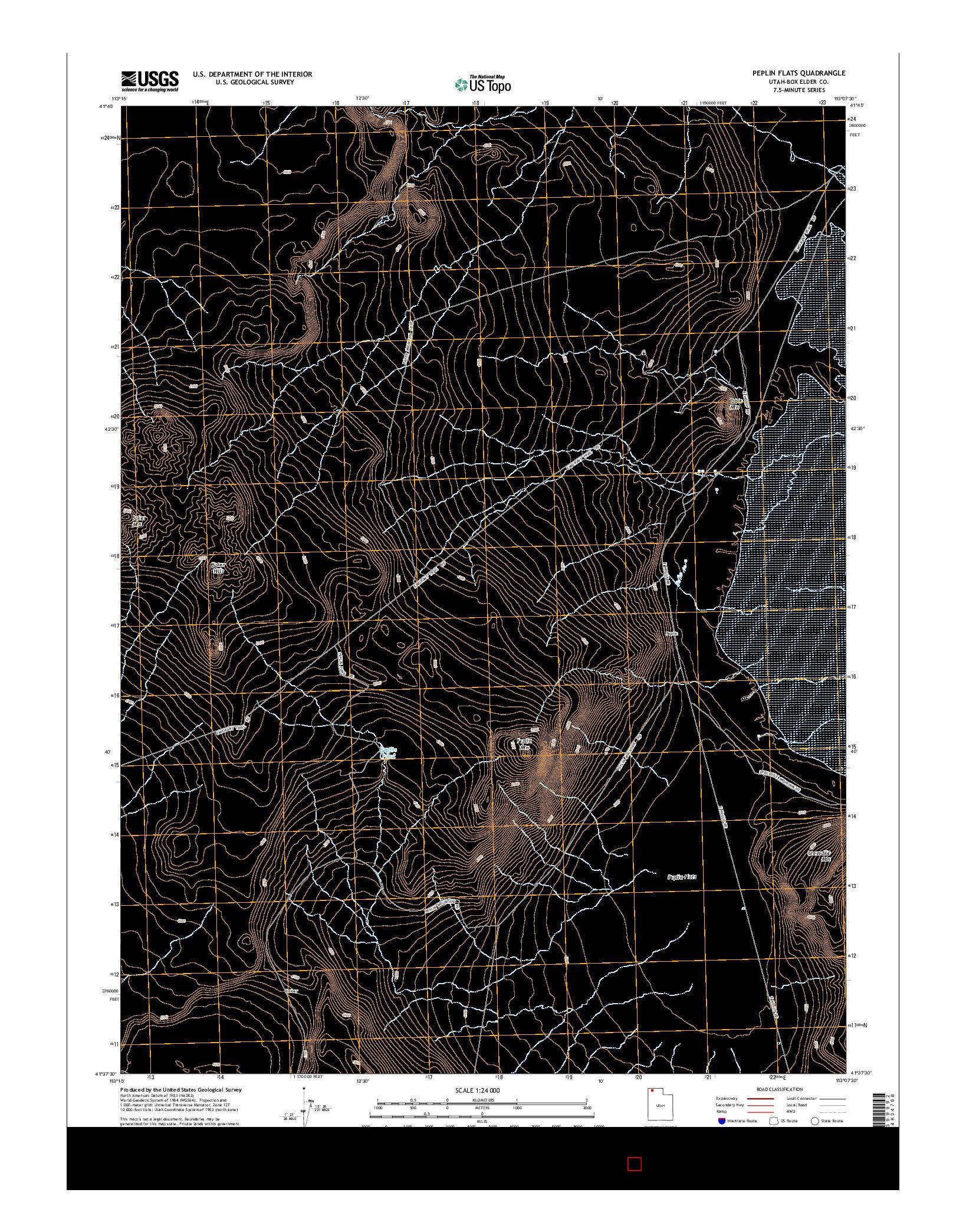 USGS US TOPO 7.5-MINUTE MAP FOR PEPLIN FLATS, UT 2014