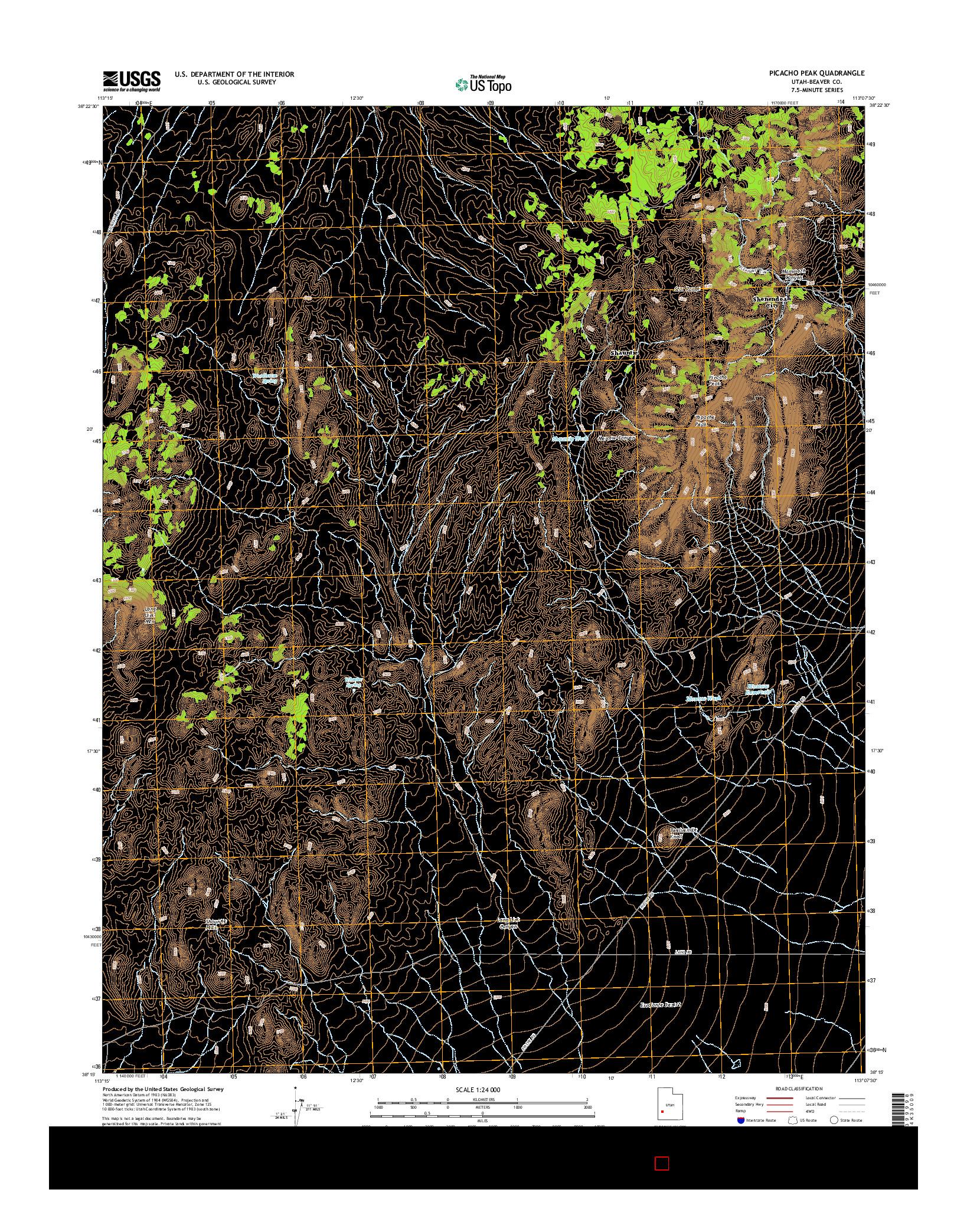 USGS US TOPO 7.5-MINUTE MAP FOR PICACHO PEAK, UT 2014