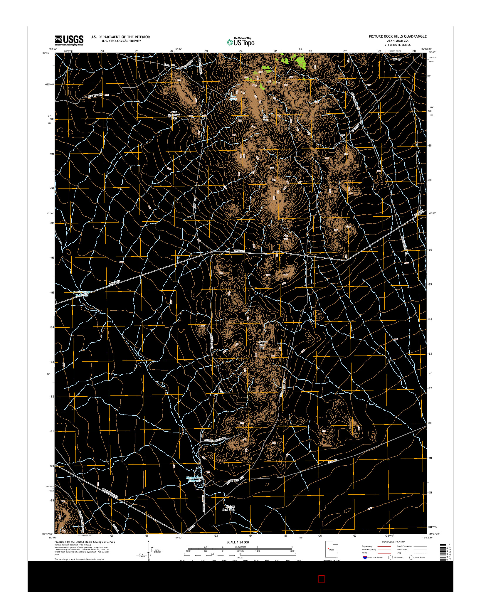 USGS US TOPO 7.5-MINUTE MAP FOR PICTURE ROCK HILLS, UT 2014