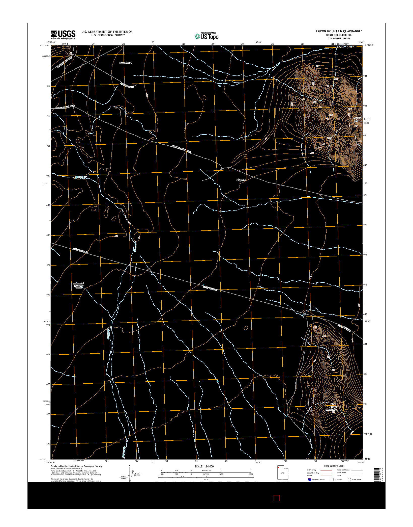 USGS US TOPO 7.5-MINUTE MAP FOR PIGEON MOUNTAIN, UT 2014