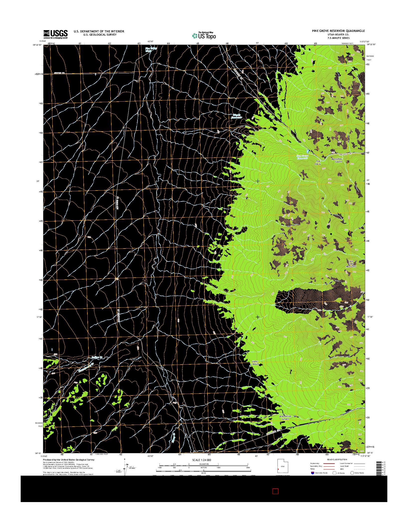 USGS US TOPO 7.5-MINUTE MAP FOR PINE GROVE RESERVOIR, UT 2014