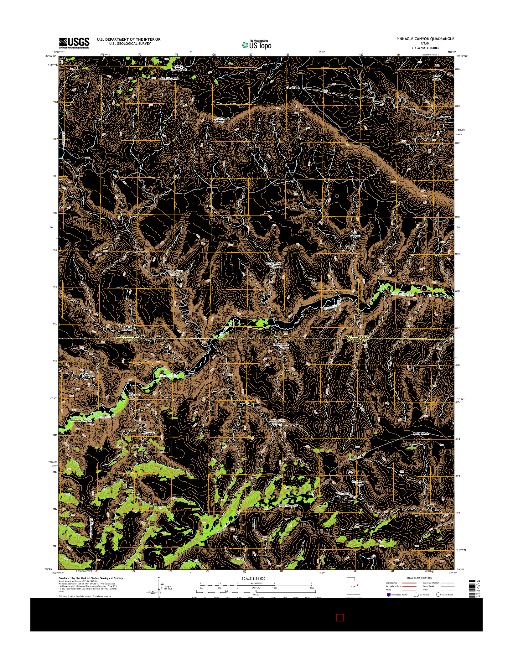 USGS US TOPO 7.5-MINUTE MAP FOR PINNACLE CANYON, UT 2014