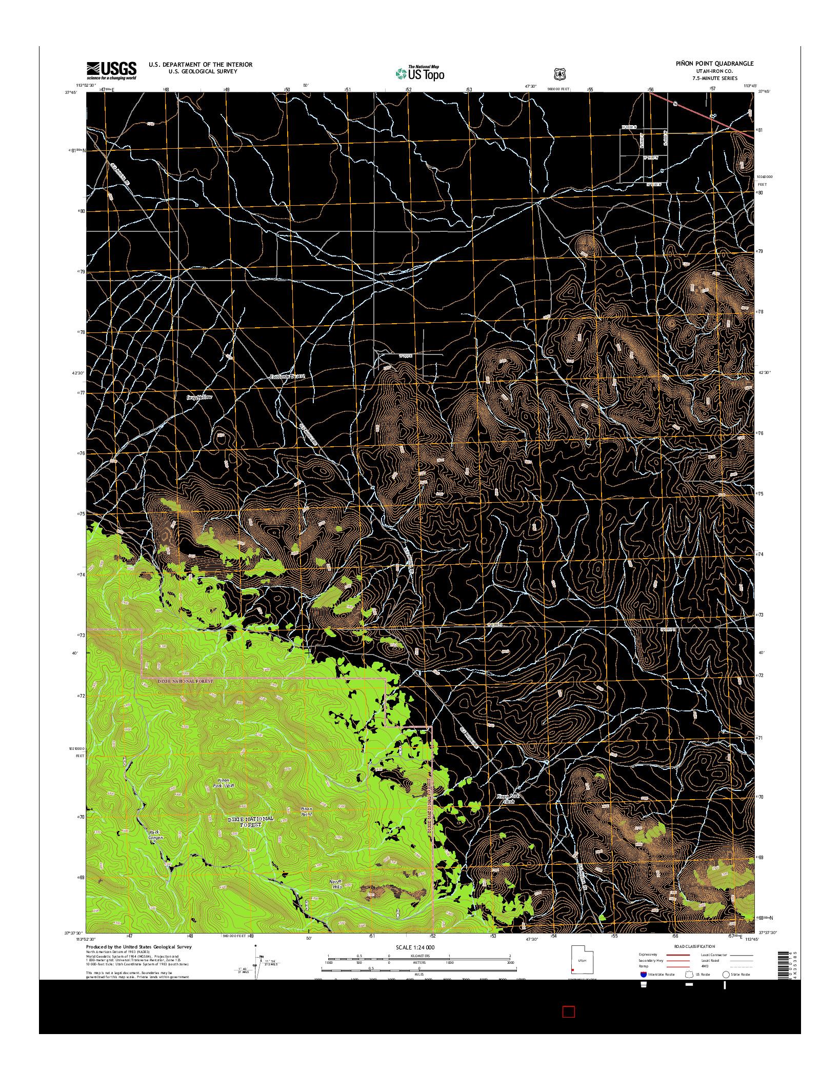 USGS US TOPO 7.5-MINUTE MAP FOR PIñON POINT, UT 2014