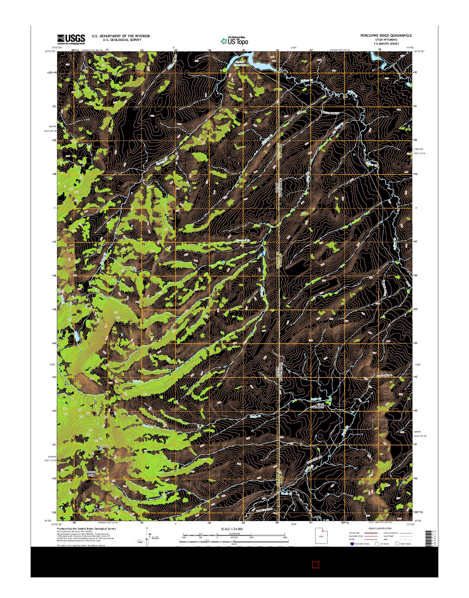 USGS US TOPO 7.5-MINUTE MAP FOR PORCUPINE RIDGE, UT-WY 2014