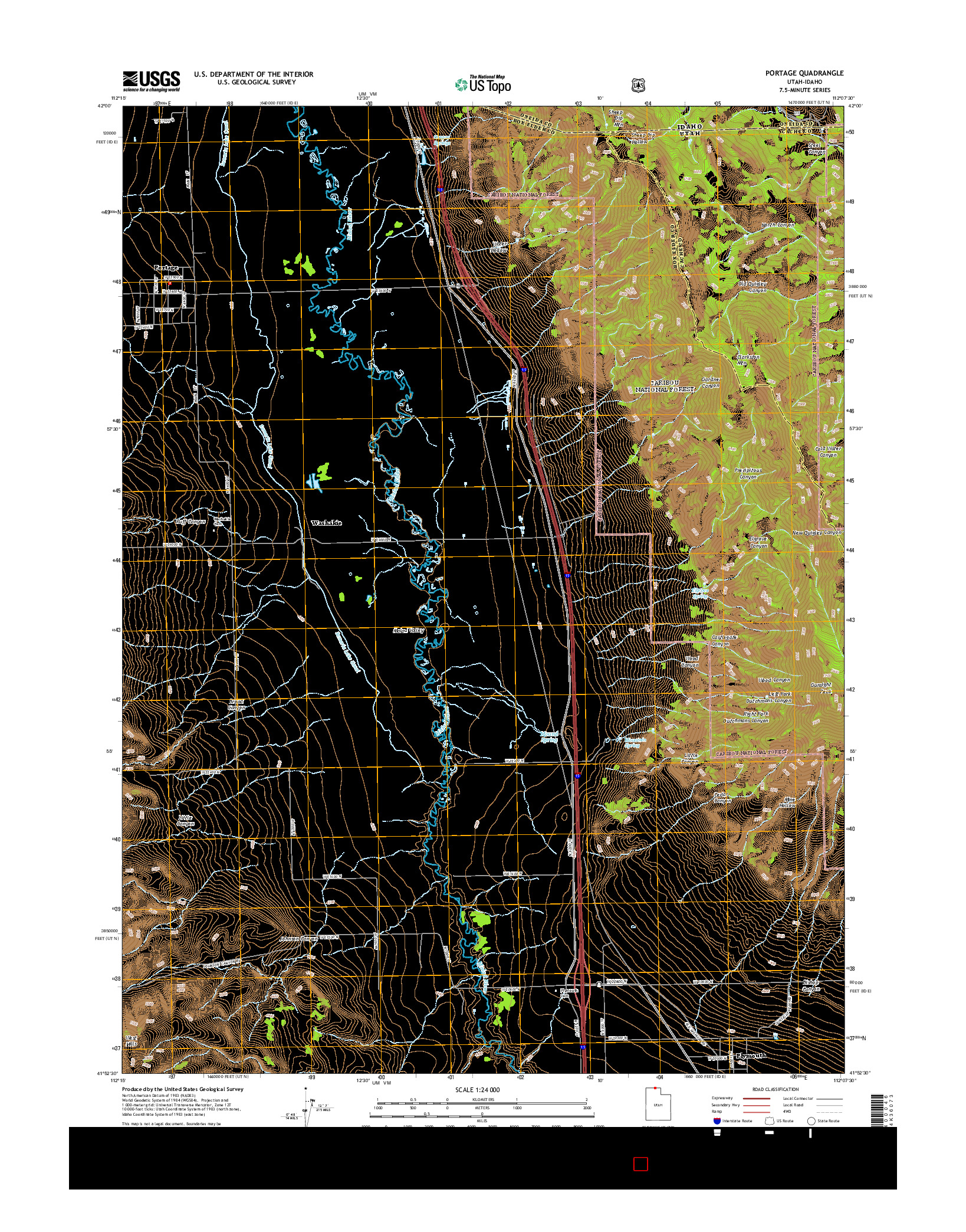 USGS US TOPO 7.5-MINUTE MAP FOR PORTAGE, UT-ID 2014