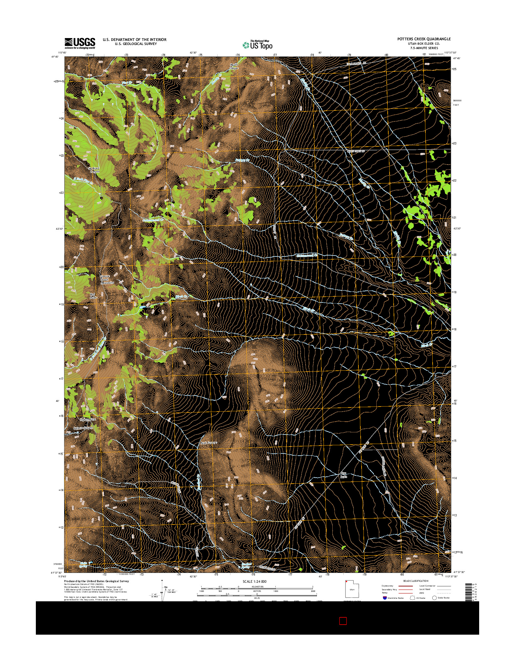 USGS US TOPO 7.5-MINUTE MAP FOR POTTERS CREEK, UT 2014