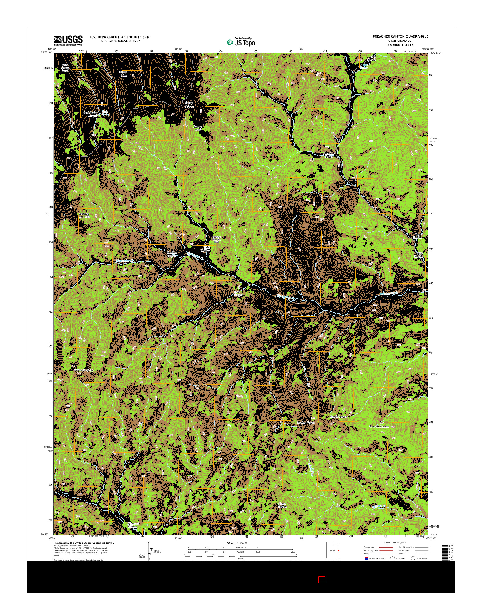 USGS US TOPO 7.5-MINUTE MAP FOR PREACHER CANYON, UT 2014