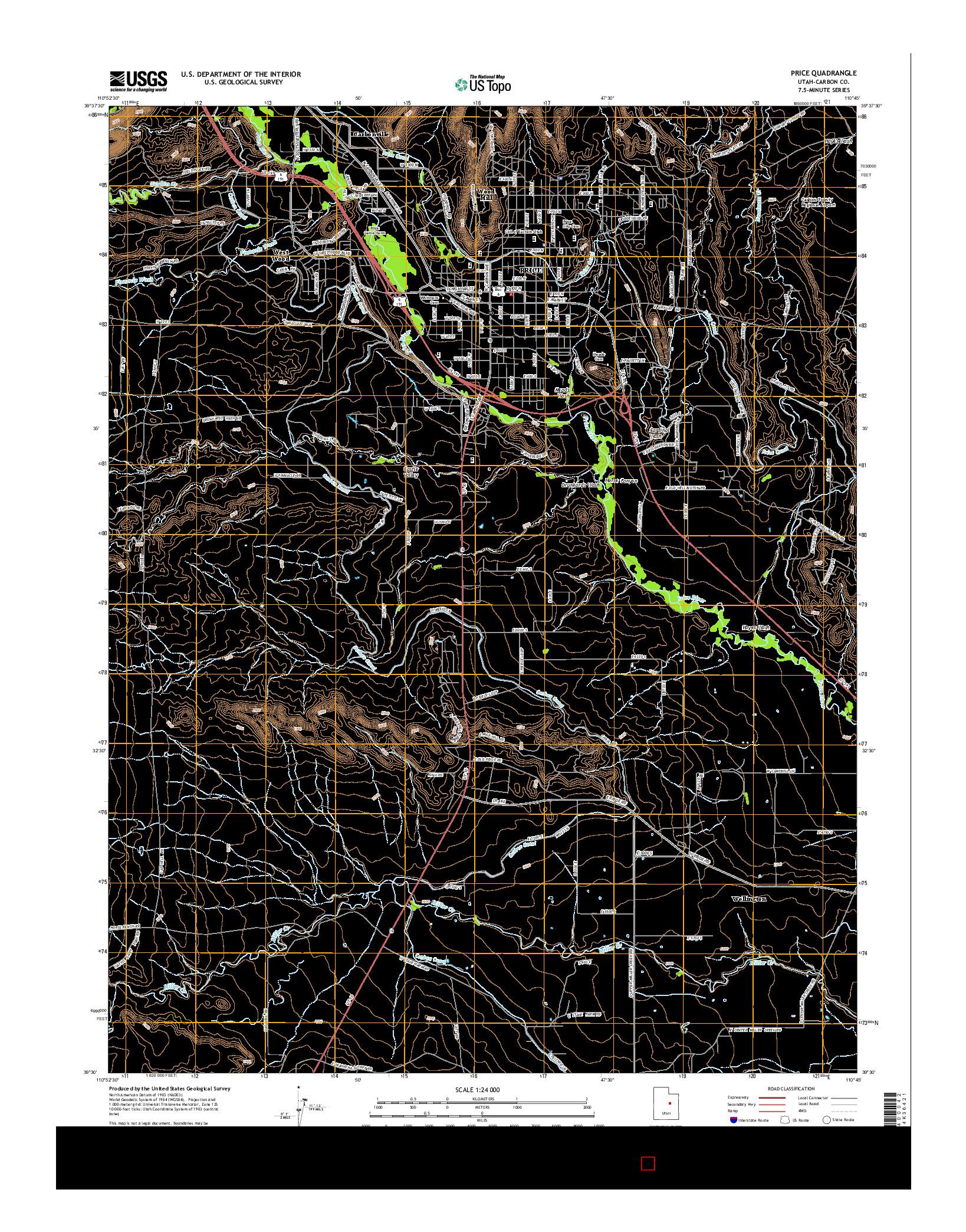 USGS US TOPO 7.5-MINUTE MAP FOR PRICE, UT 2014