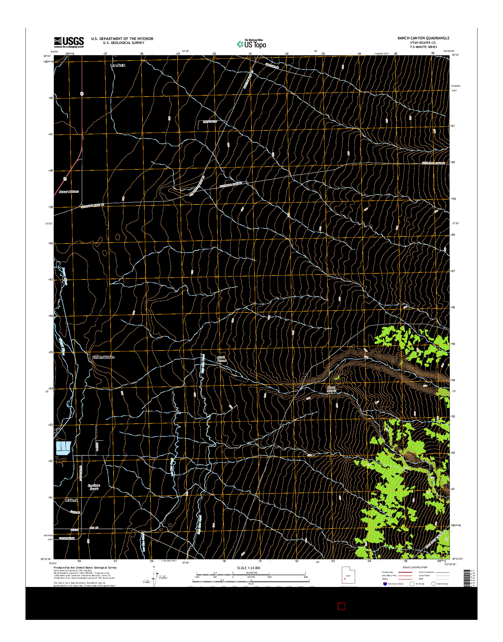 USGS US TOPO 7.5-MINUTE MAP FOR RANCH CANYON, UT 2014