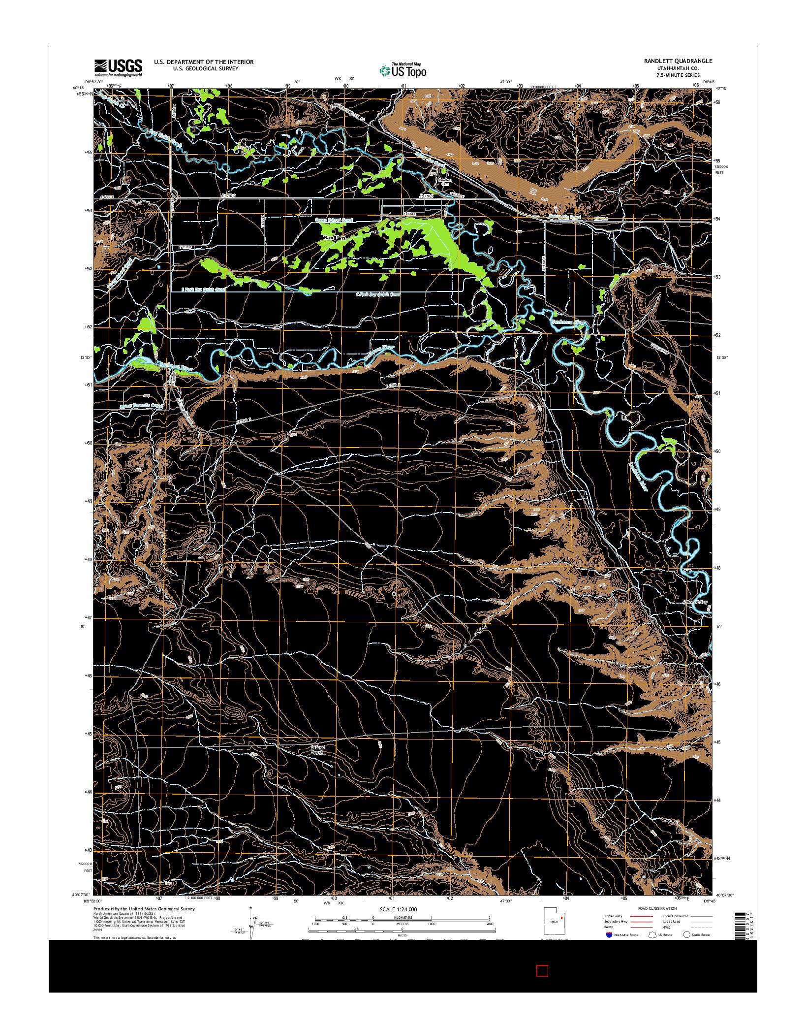 USGS US TOPO 7.5-MINUTE MAP FOR RANDLETT, UT 2014