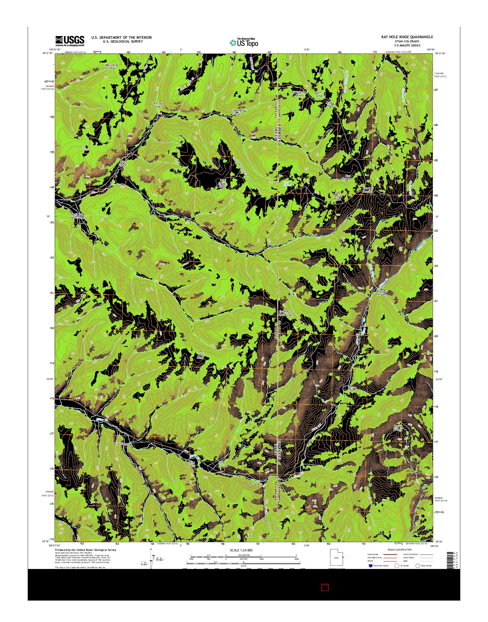 USGS US TOPO 7.5-MINUTE MAP FOR RAT HOLE RIDGE, UT-CO 2014