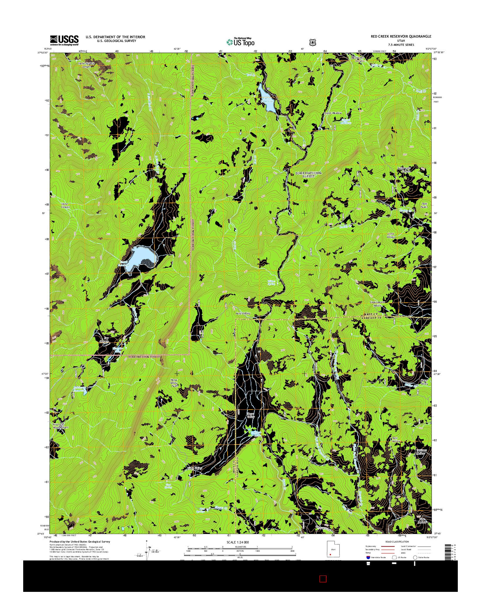 USGS US TOPO 7.5-MINUTE MAP FOR RED CREEK RESERVOIR, UT 2014