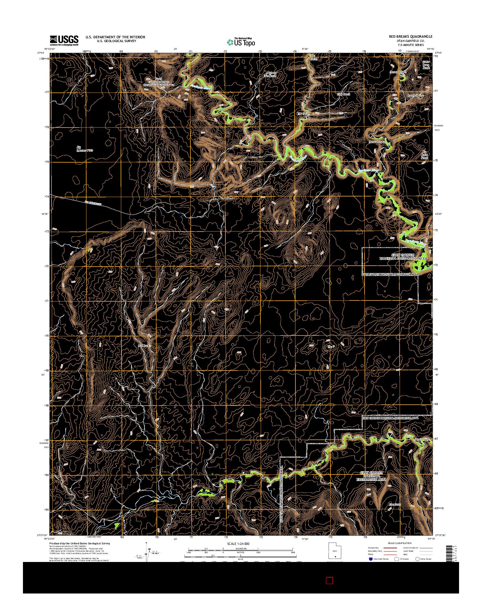 USGS US TOPO 7.5-MINUTE MAP FOR RED BREAKS, UT 2014