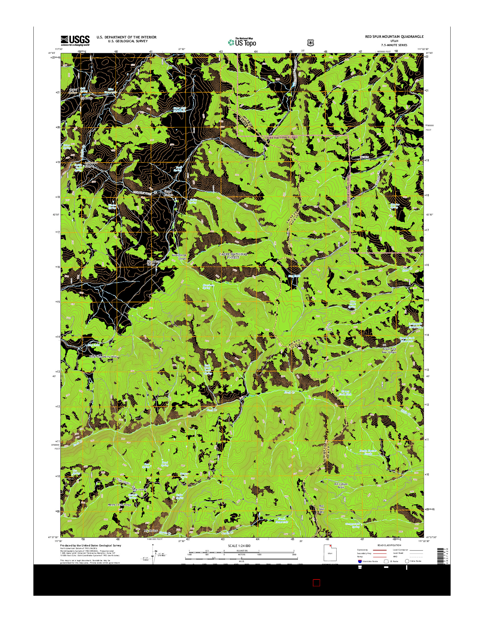 USGS US TOPO 7.5-MINUTE MAP FOR RED SPUR MOUNTAIN, UT 2014