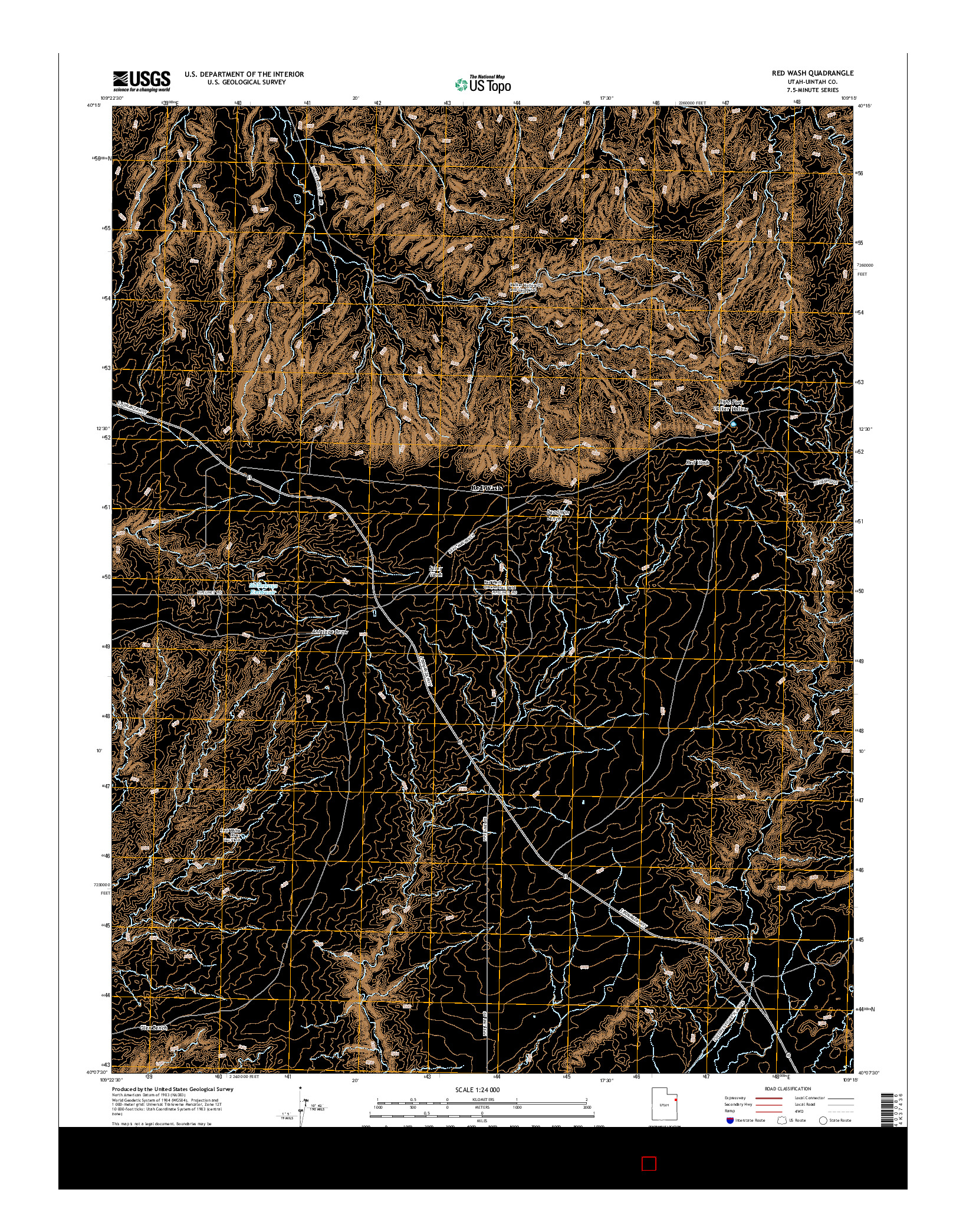 USGS US TOPO 7.5-MINUTE MAP FOR RED WASH, UT 2014