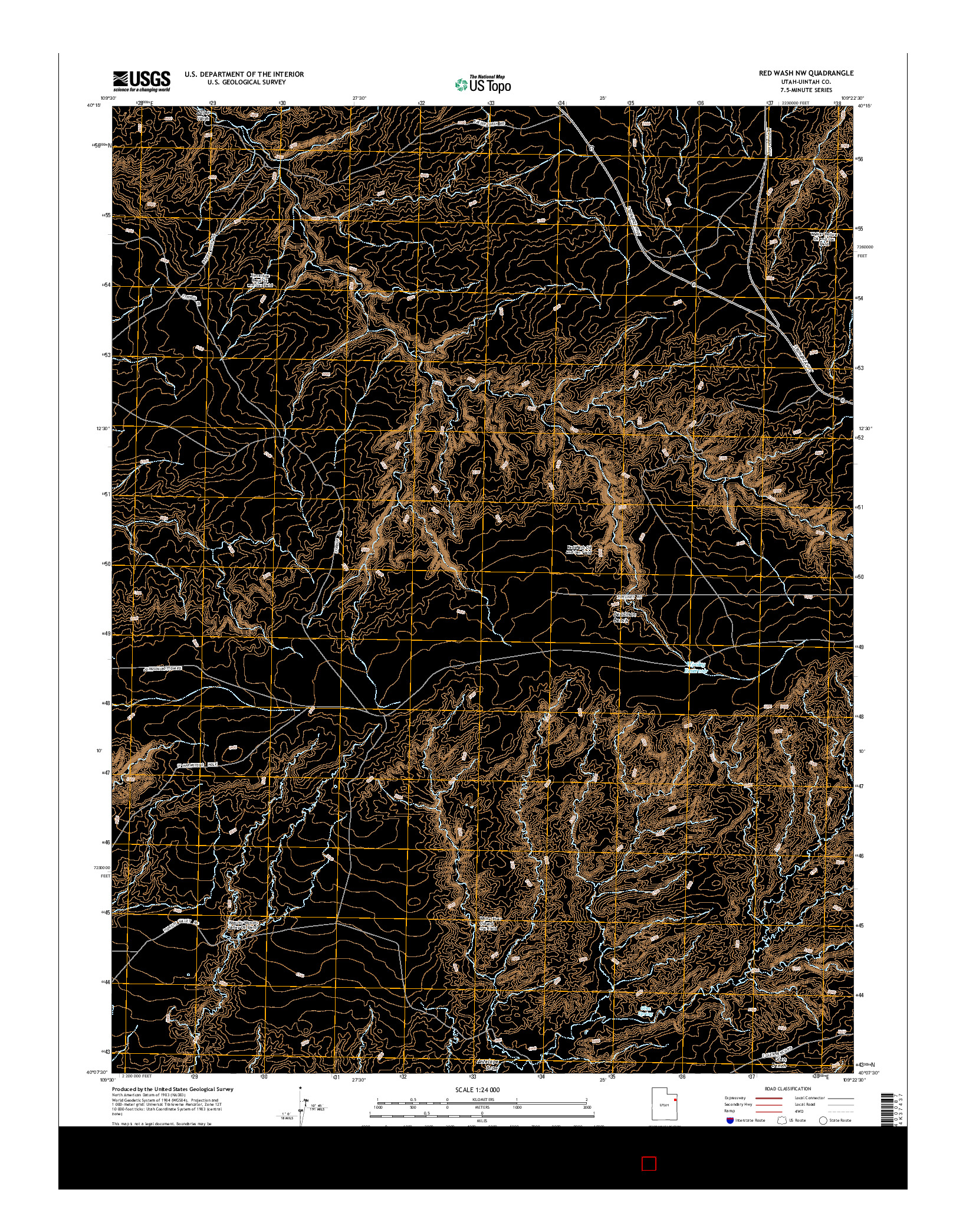 USGS US TOPO 7.5-MINUTE MAP FOR RED WASH NW, UT 2014