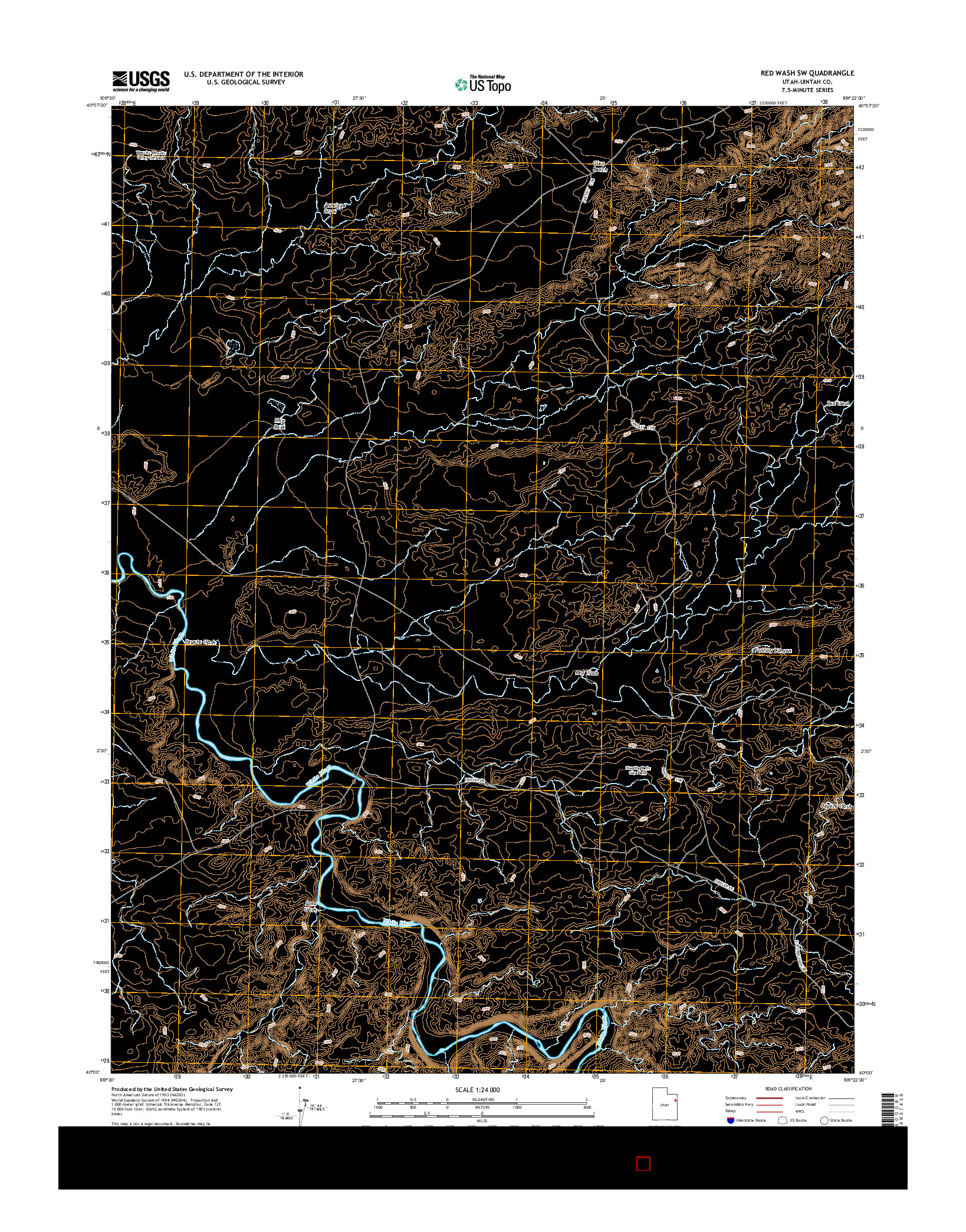 USGS US TOPO 7.5-MINUTE MAP FOR RED WASH SW, UT 2014