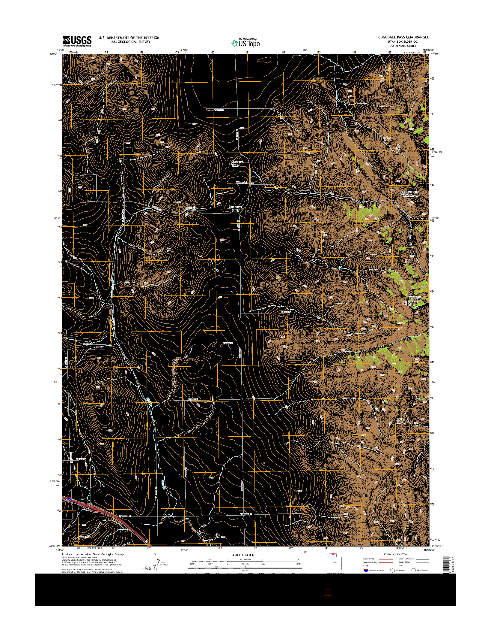 USGS US TOPO 7.5-MINUTE MAP FOR RIDGEDALE PASS, UT 2014