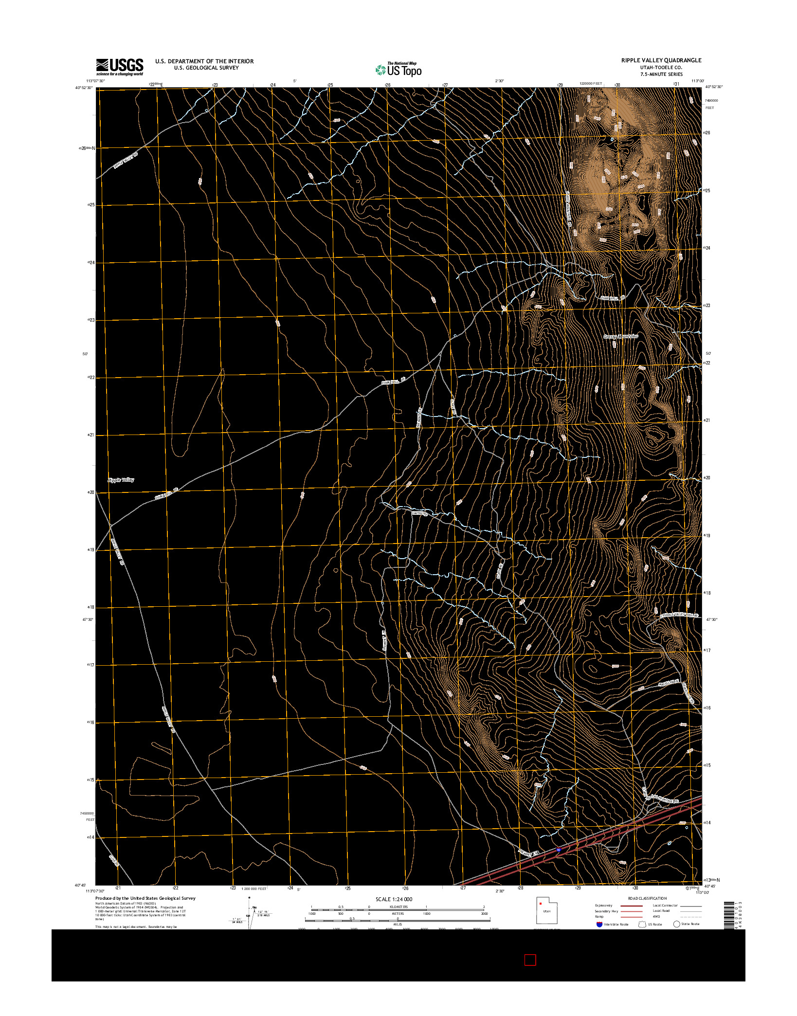 USGS US TOPO 7.5-MINUTE MAP FOR RIPPLE VALLEY, UT 2014