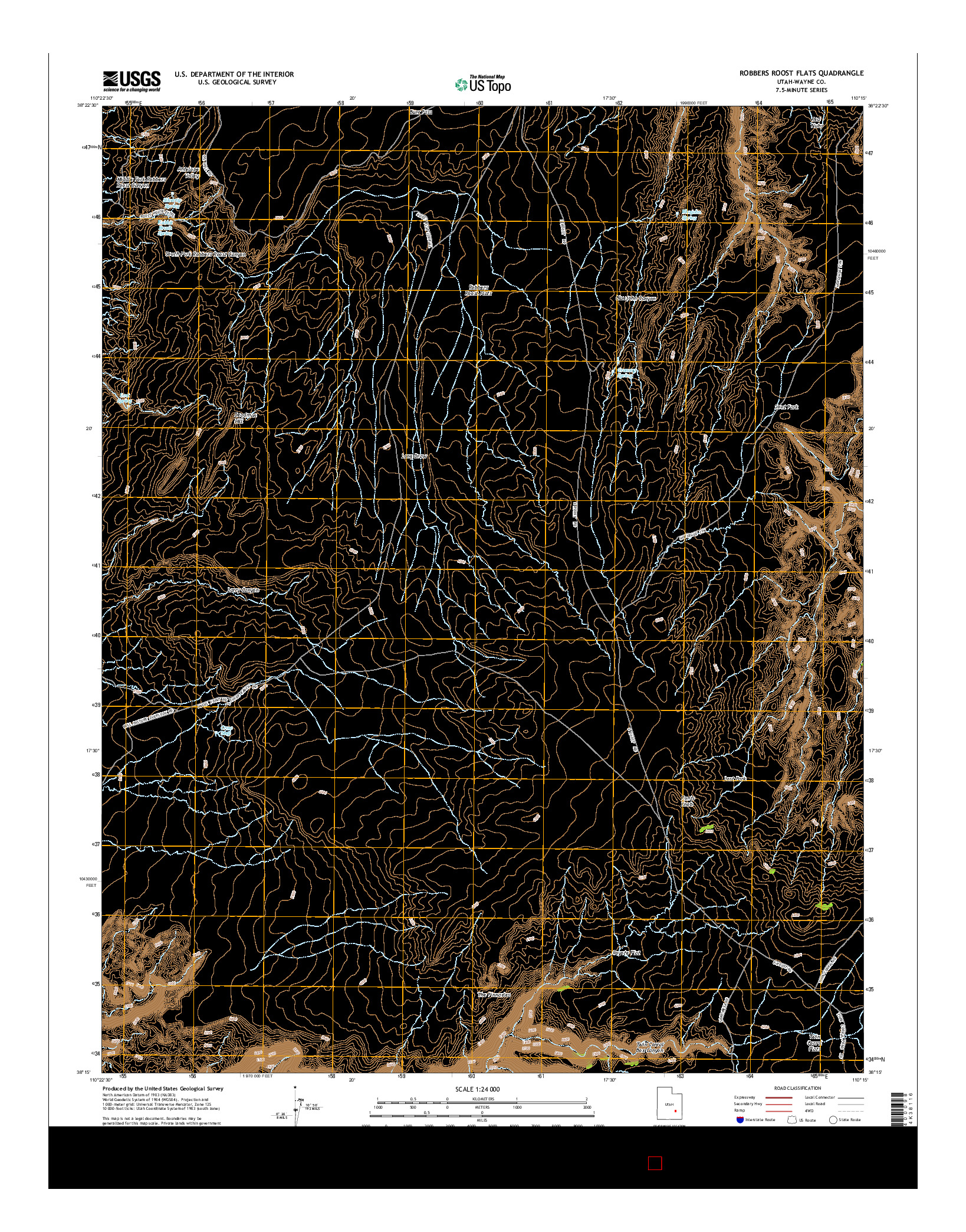 USGS US TOPO 7.5-MINUTE MAP FOR ROBBERS ROOST FLATS, UT 2014