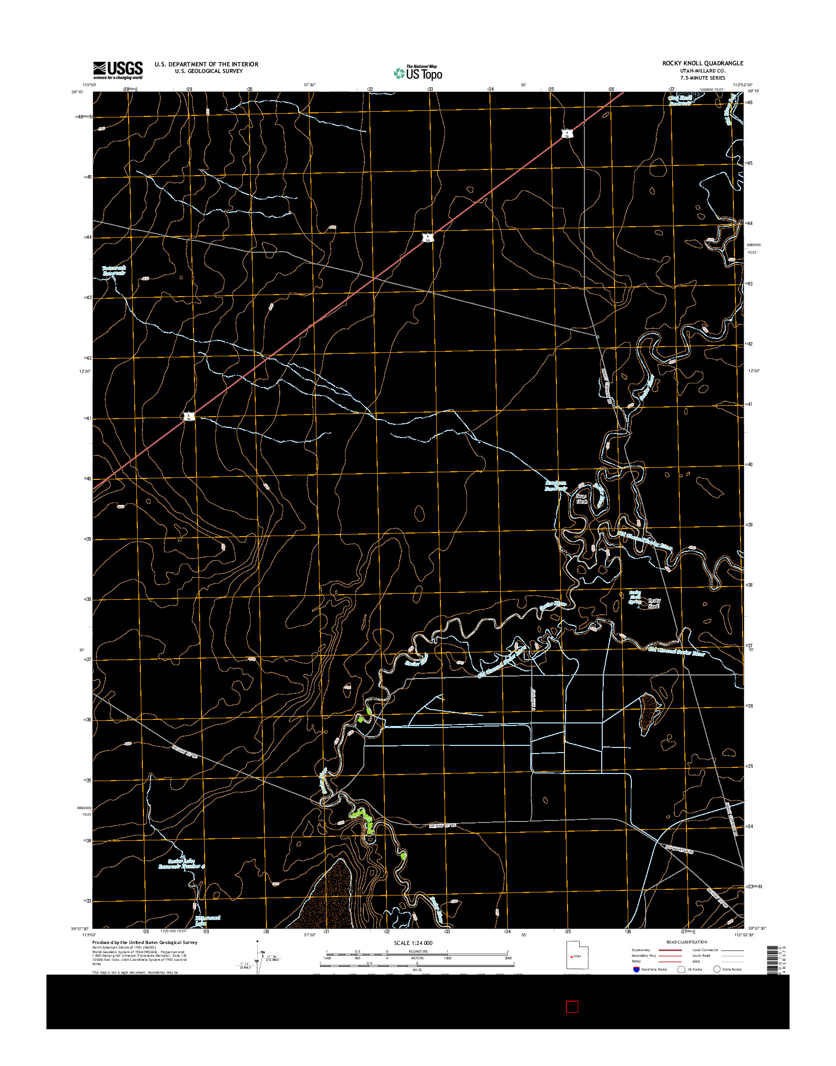 USGS US TOPO 7.5-MINUTE MAP FOR ROCKY KNOLL, UT 2014