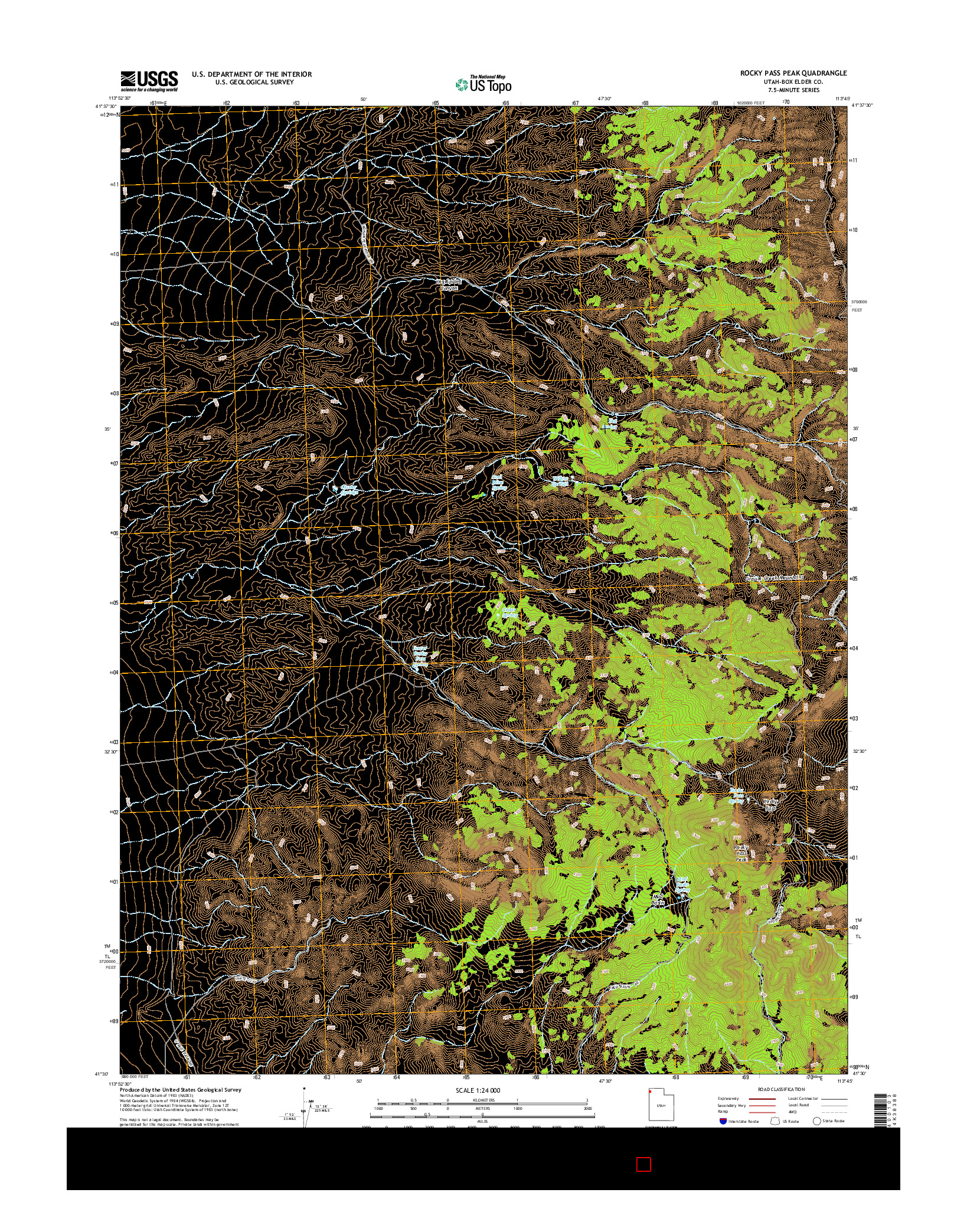 USGS US TOPO 7.5-MINUTE MAP FOR ROCKY PASS PEAK, UT 2014