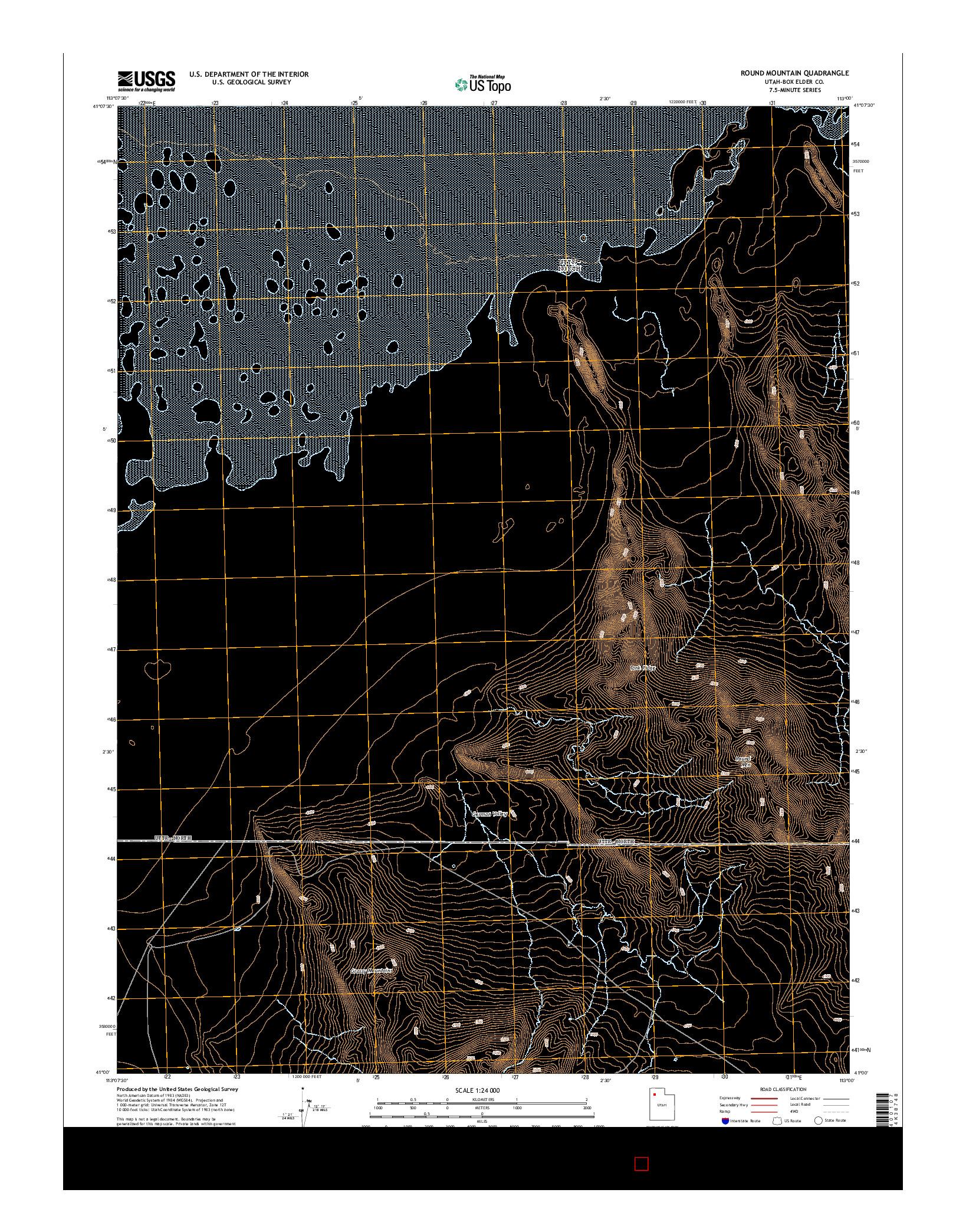 USGS US TOPO 7.5-MINUTE MAP FOR ROUND MOUNTAIN, UT 2014