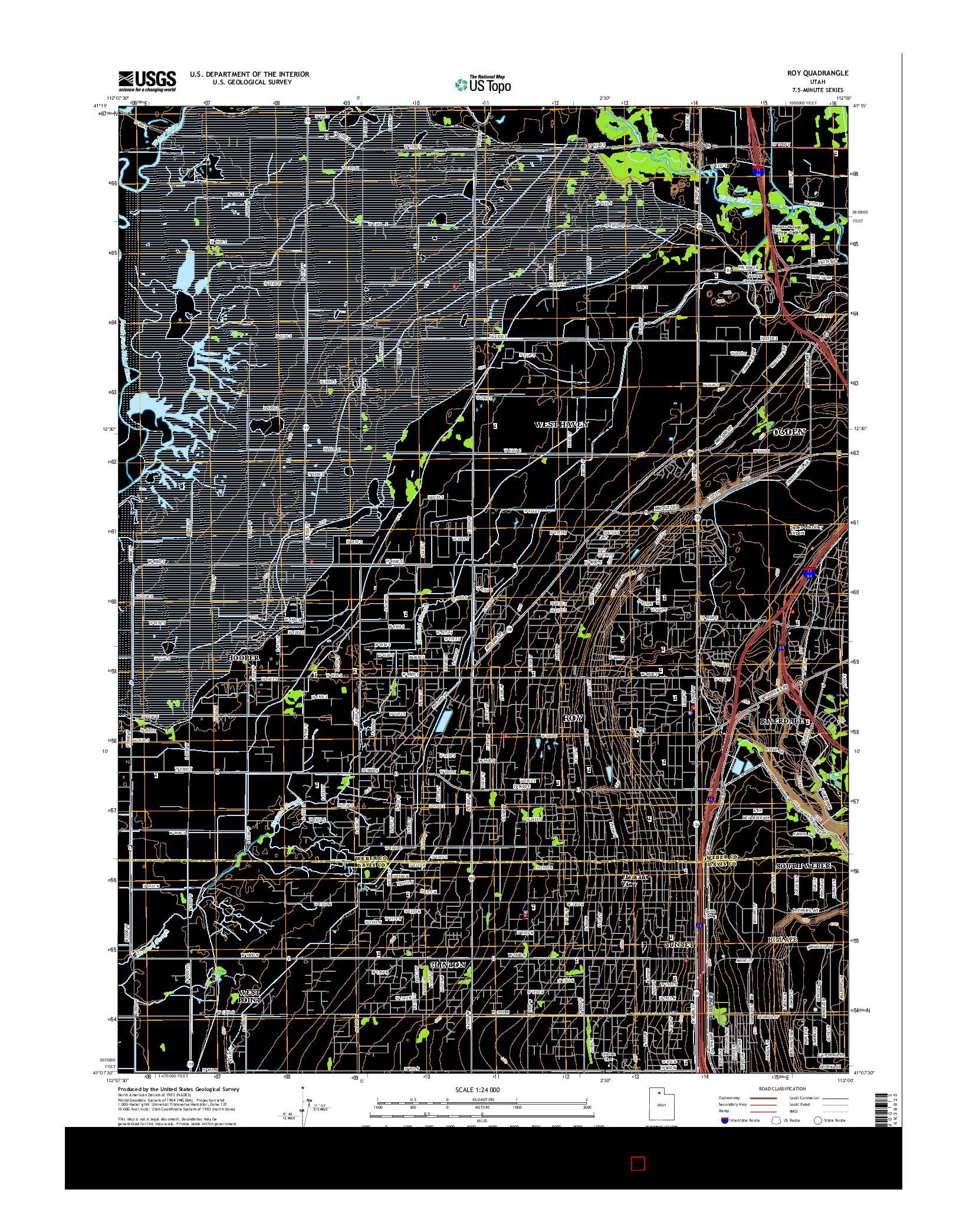 USGS US TOPO 7.5-MINUTE MAP FOR ROY, UT 2014
