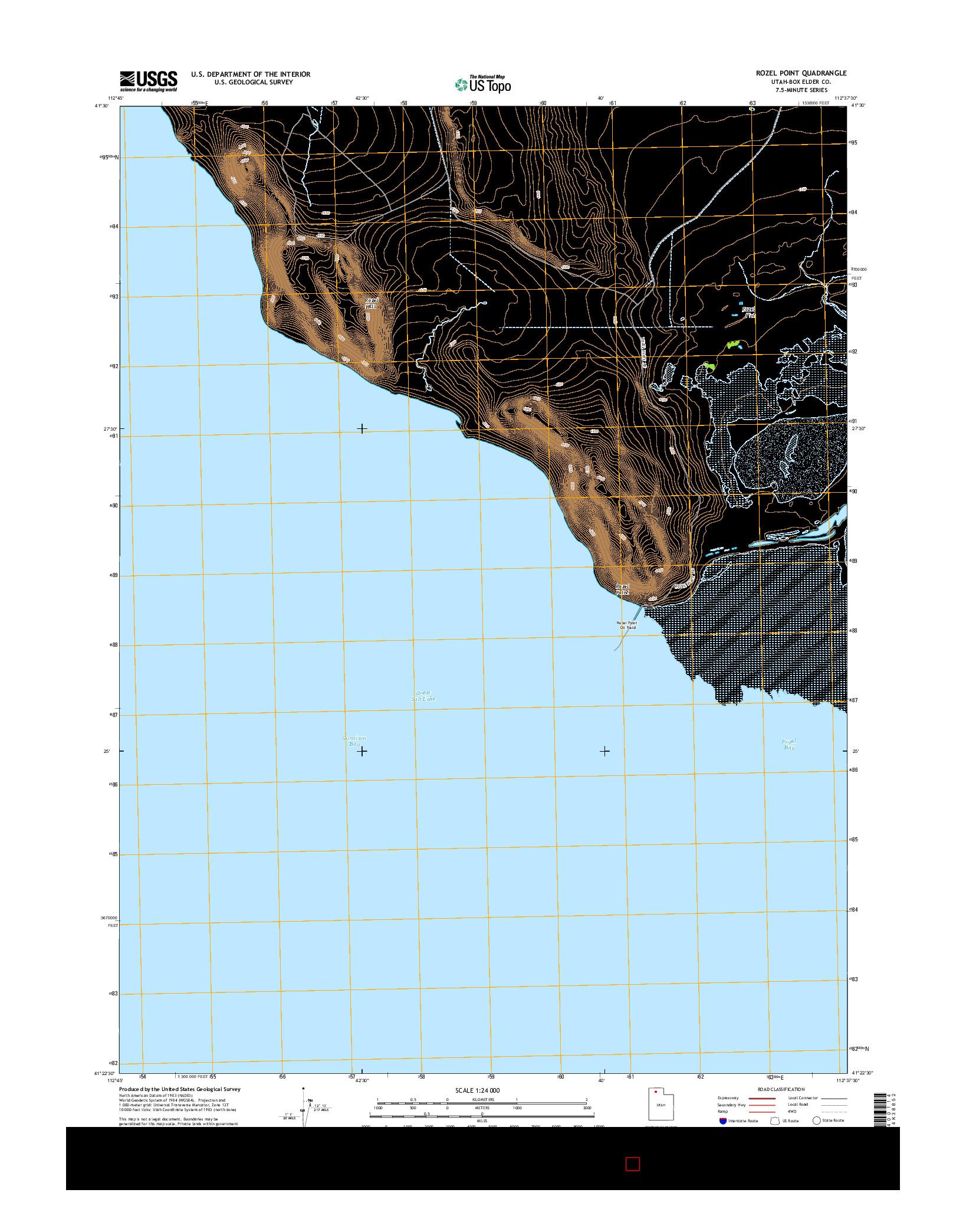 USGS US TOPO 7.5-MINUTE MAP FOR ROZEL POINT, UT 2014