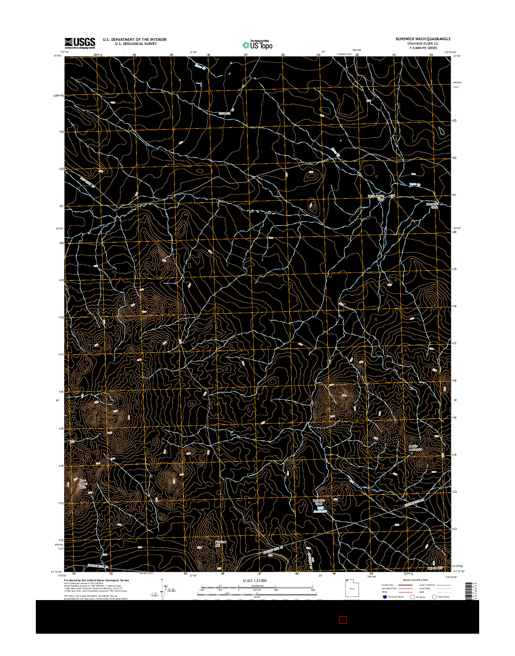 USGS US TOPO 7.5-MINUTE MAP FOR RUNSWICK WASH, UT 2014