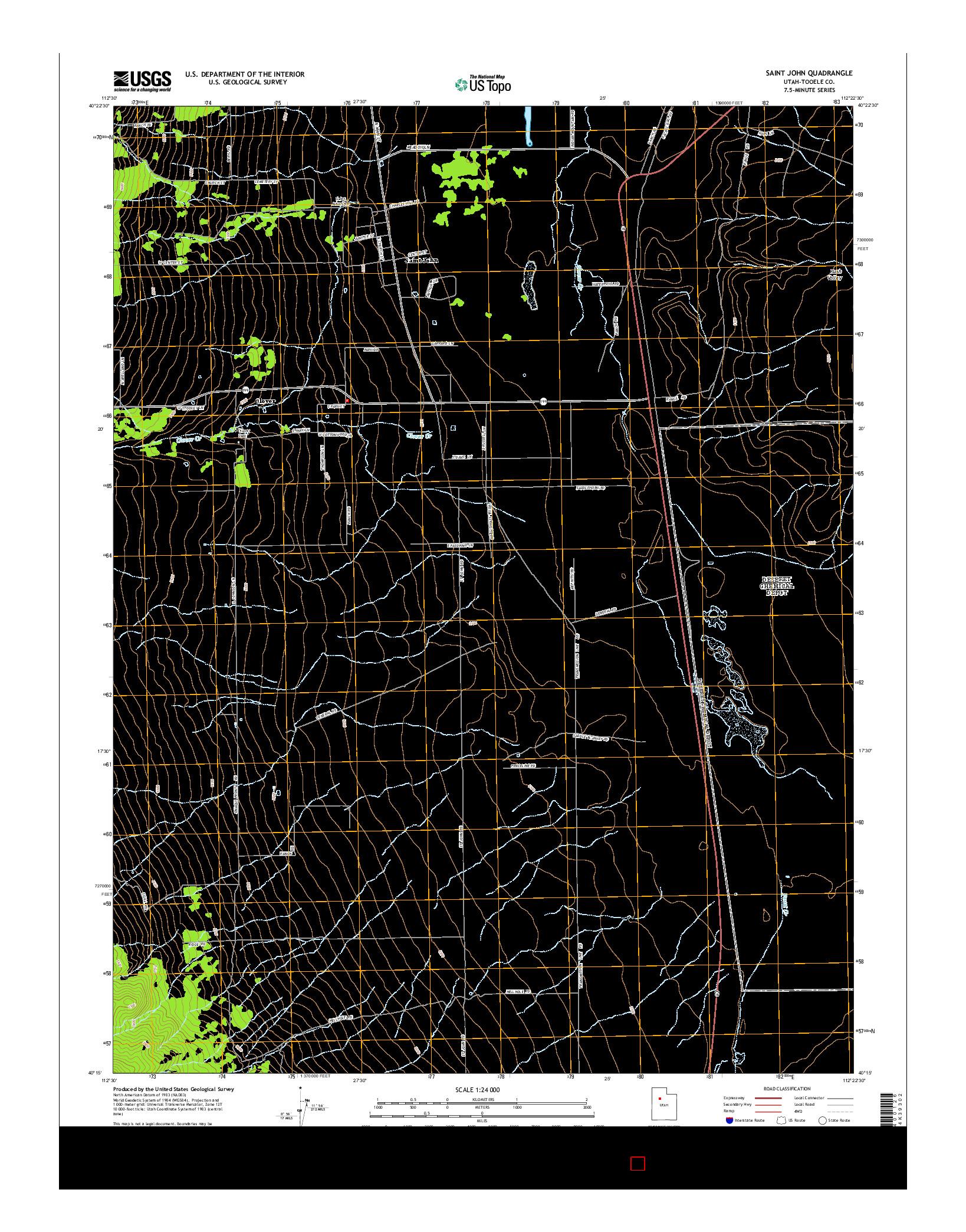 USGS US TOPO 7.5-MINUTE MAP FOR SAINT JOHN, UT 2014