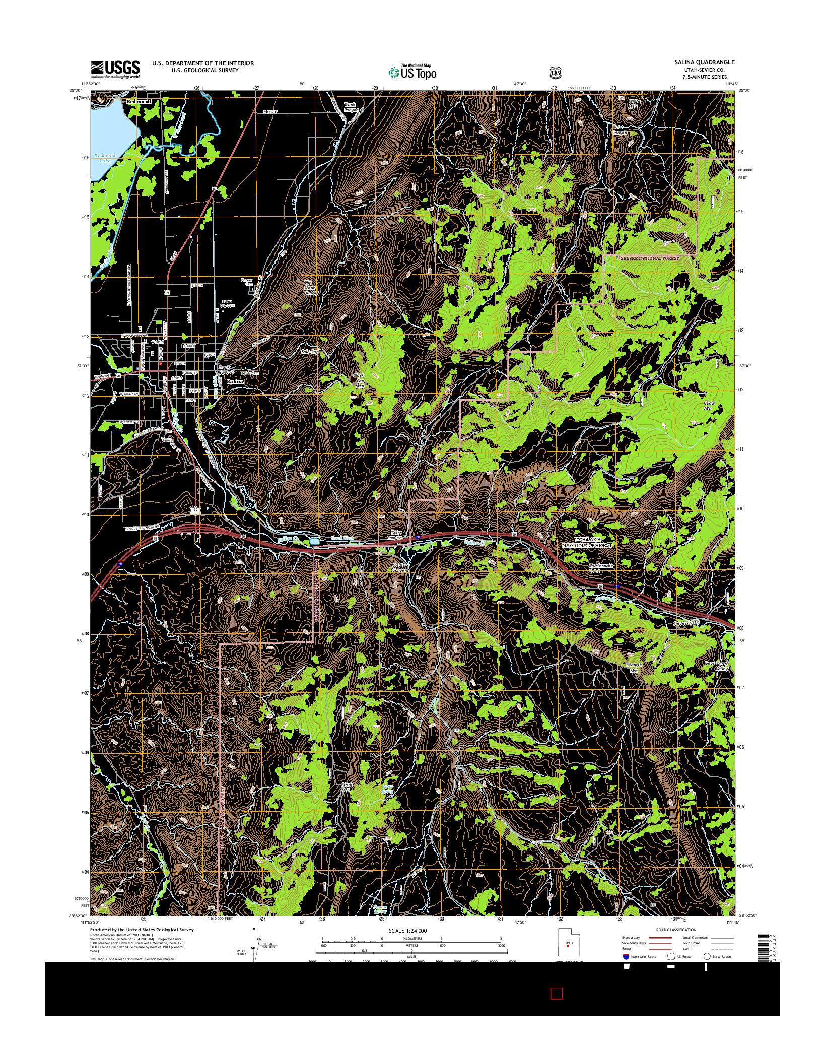 USGS US TOPO 7.5-MINUTE MAP FOR SALINA, UT 2014