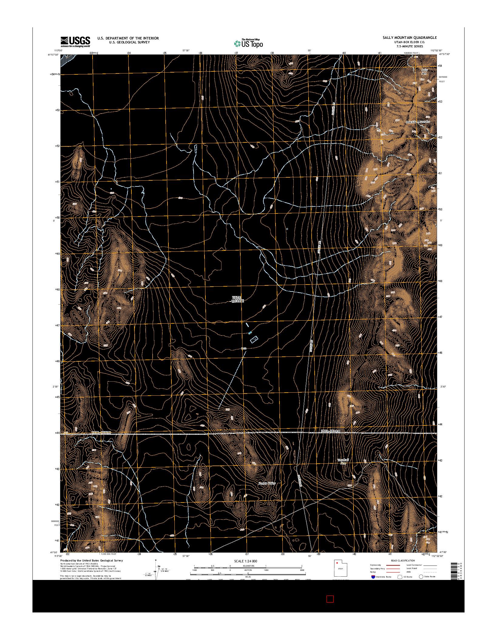 USGS US TOPO 7.5-MINUTE MAP FOR SALLY MOUNTAIN, UT 2014