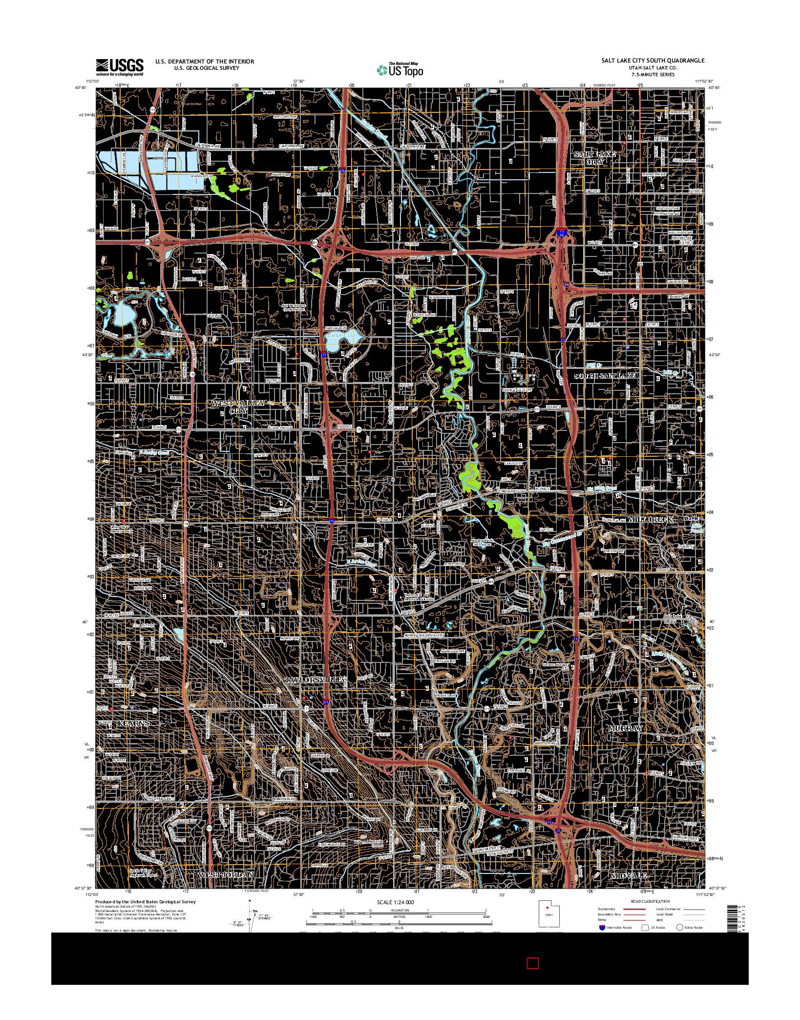 USGS US TOPO 7.5-MINUTE MAP FOR SALT LAKE CITY SOUTH, UT 2014