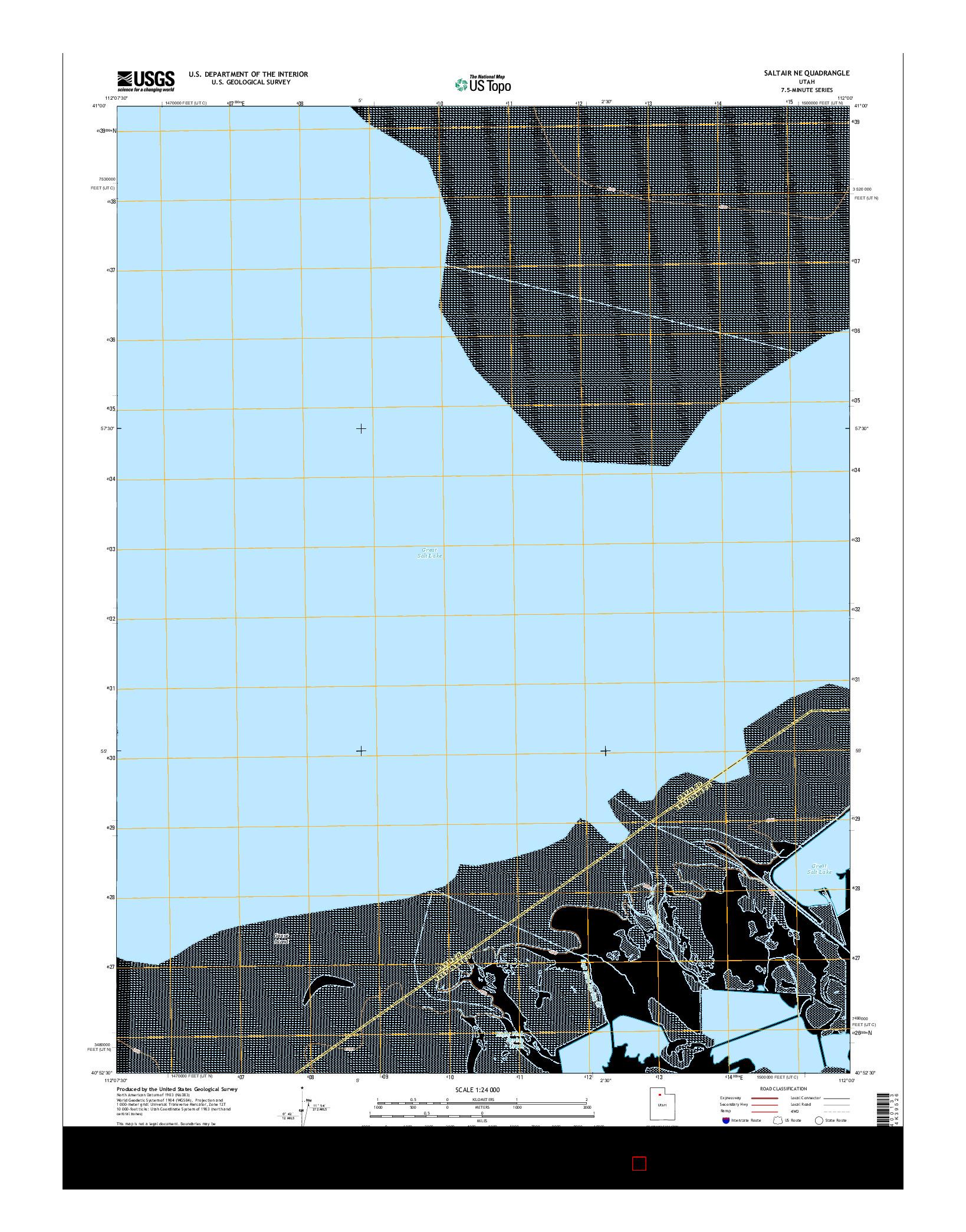 USGS US TOPO 7.5-MINUTE MAP FOR SALTAIR NE, UT 2014