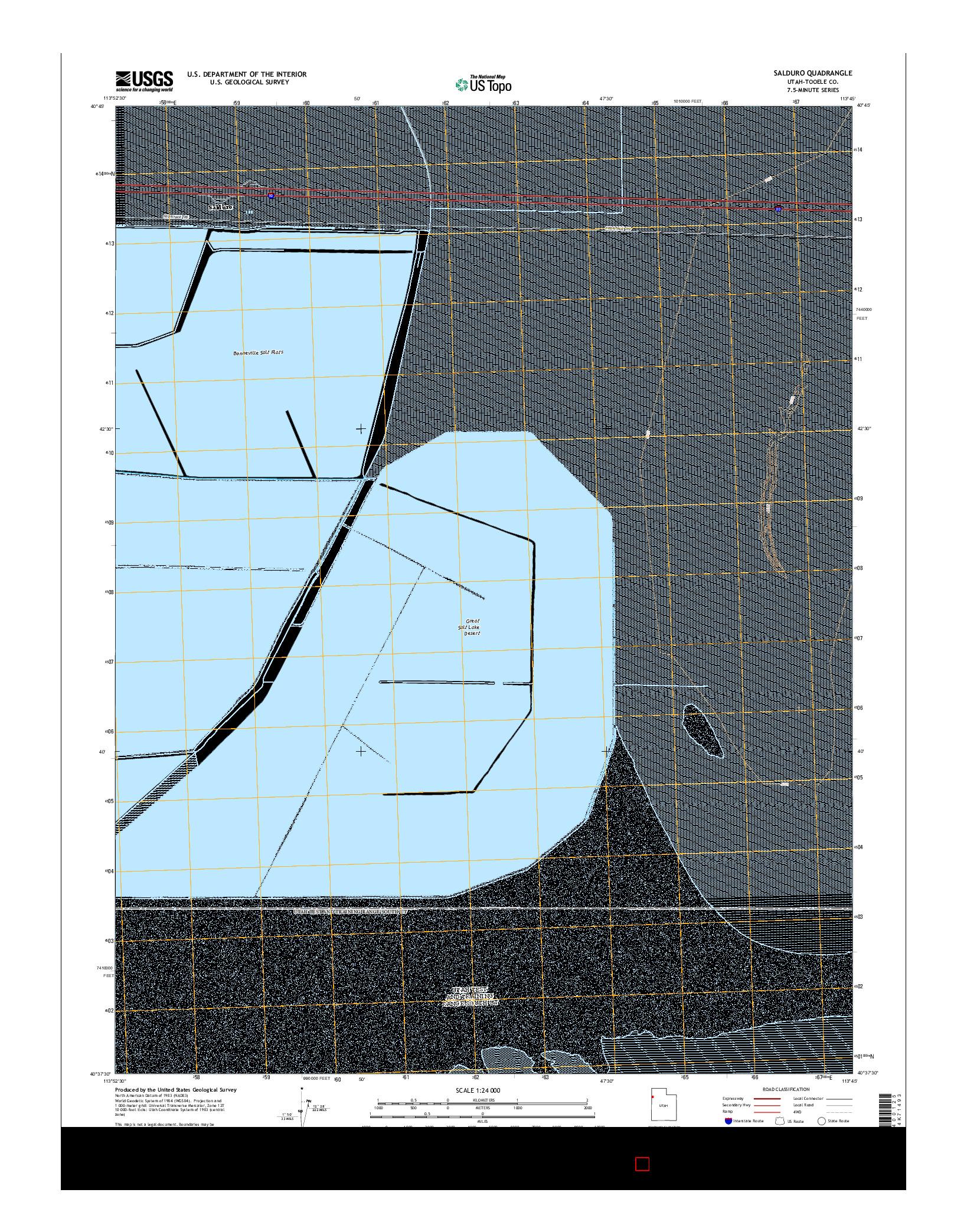 USGS US TOPO 7.5-MINUTE MAP FOR SALDURO, UT 2014
