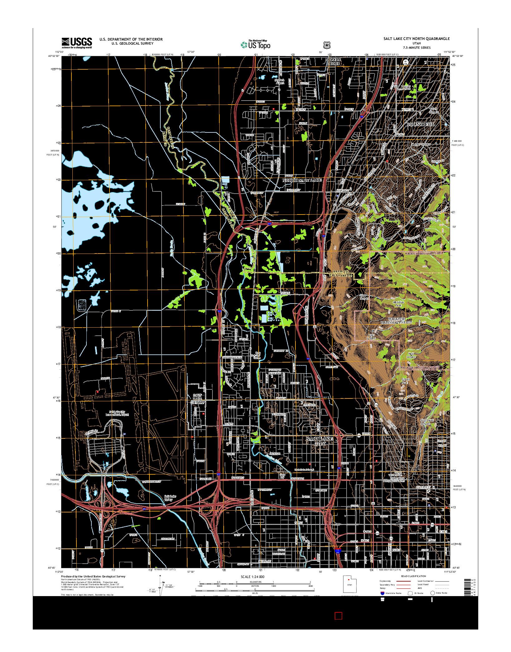 USGS US TOPO 7.5-MINUTE MAP FOR SALT LAKE CITY NORTH, UT 2014