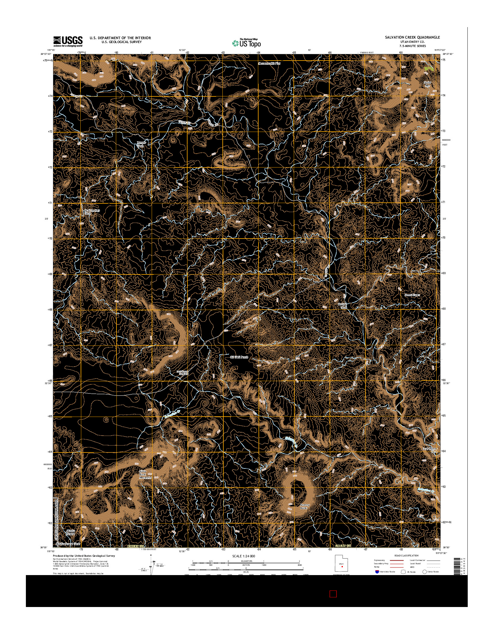 USGS US TOPO 7.5-MINUTE MAP FOR SALVATION CREEK, UT 2014