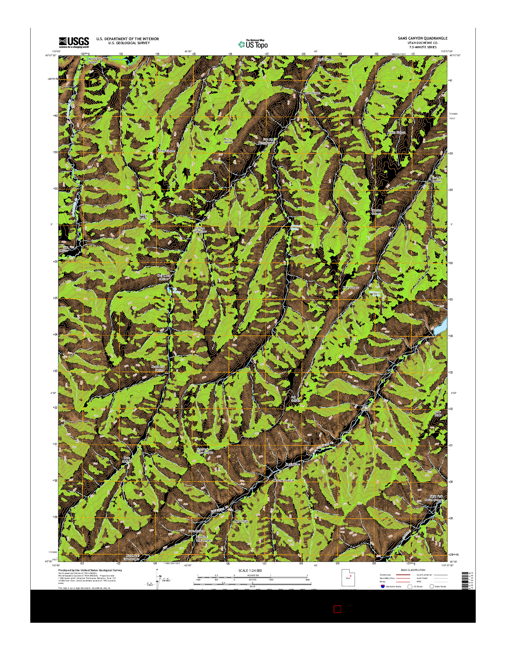 USGS US TOPO 7.5-MINUTE MAP FOR SAMS CANYON, UT 2014