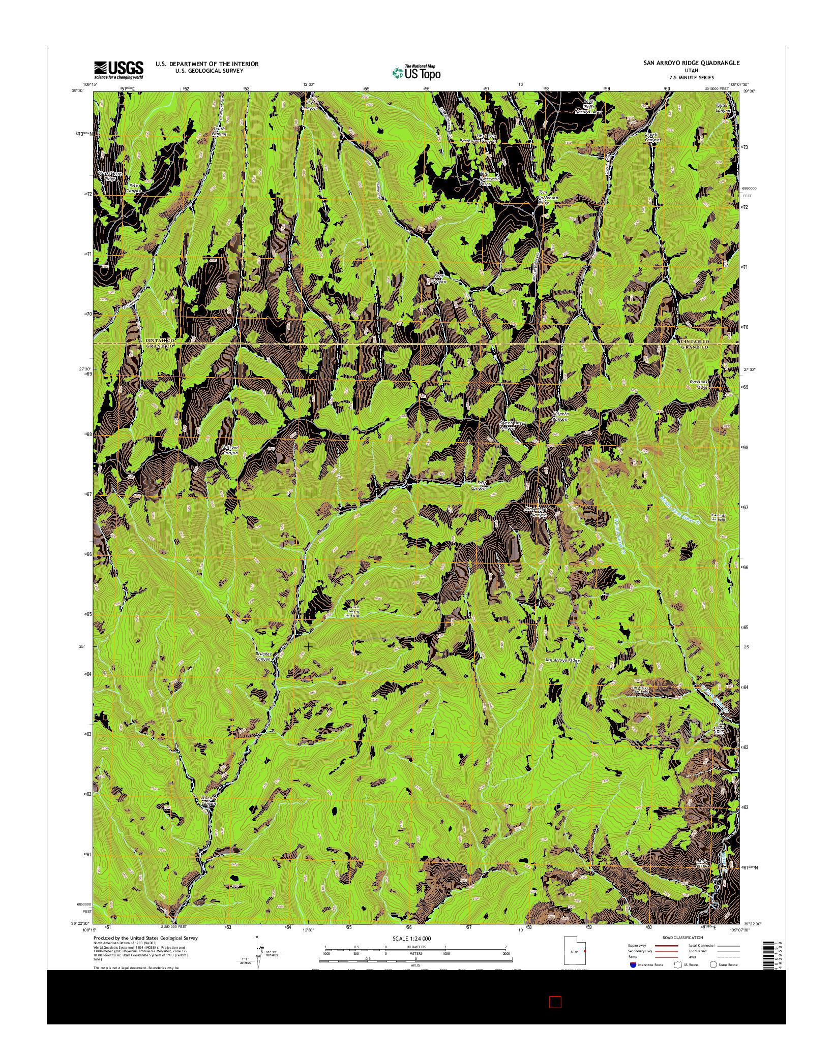 USGS US TOPO 7.5-MINUTE MAP FOR SAN ARROYO RIDGE, UT 2014