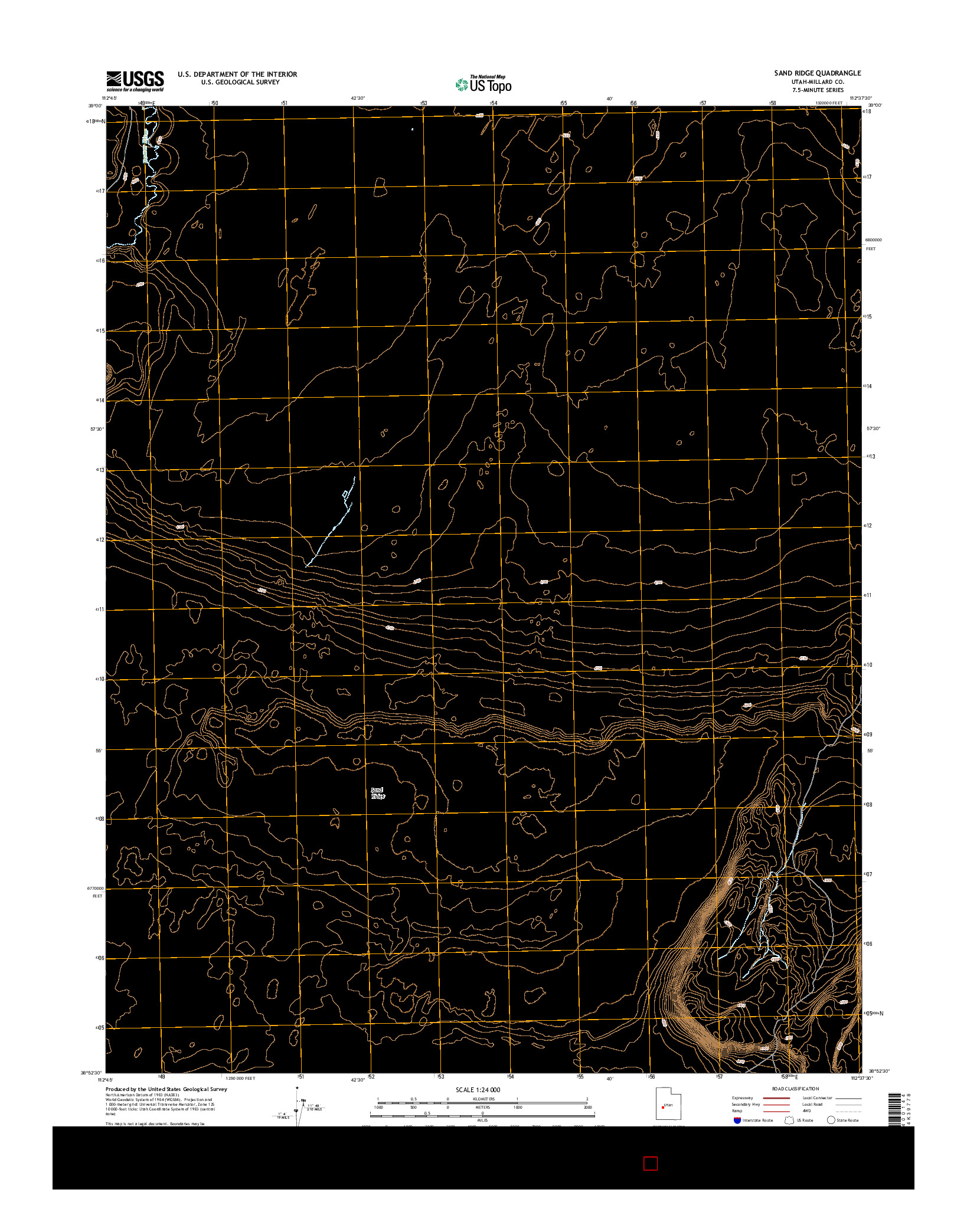 USGS US TOPO 7.5-MINUTE MAP FOR SAND RIDGE, UT 2014