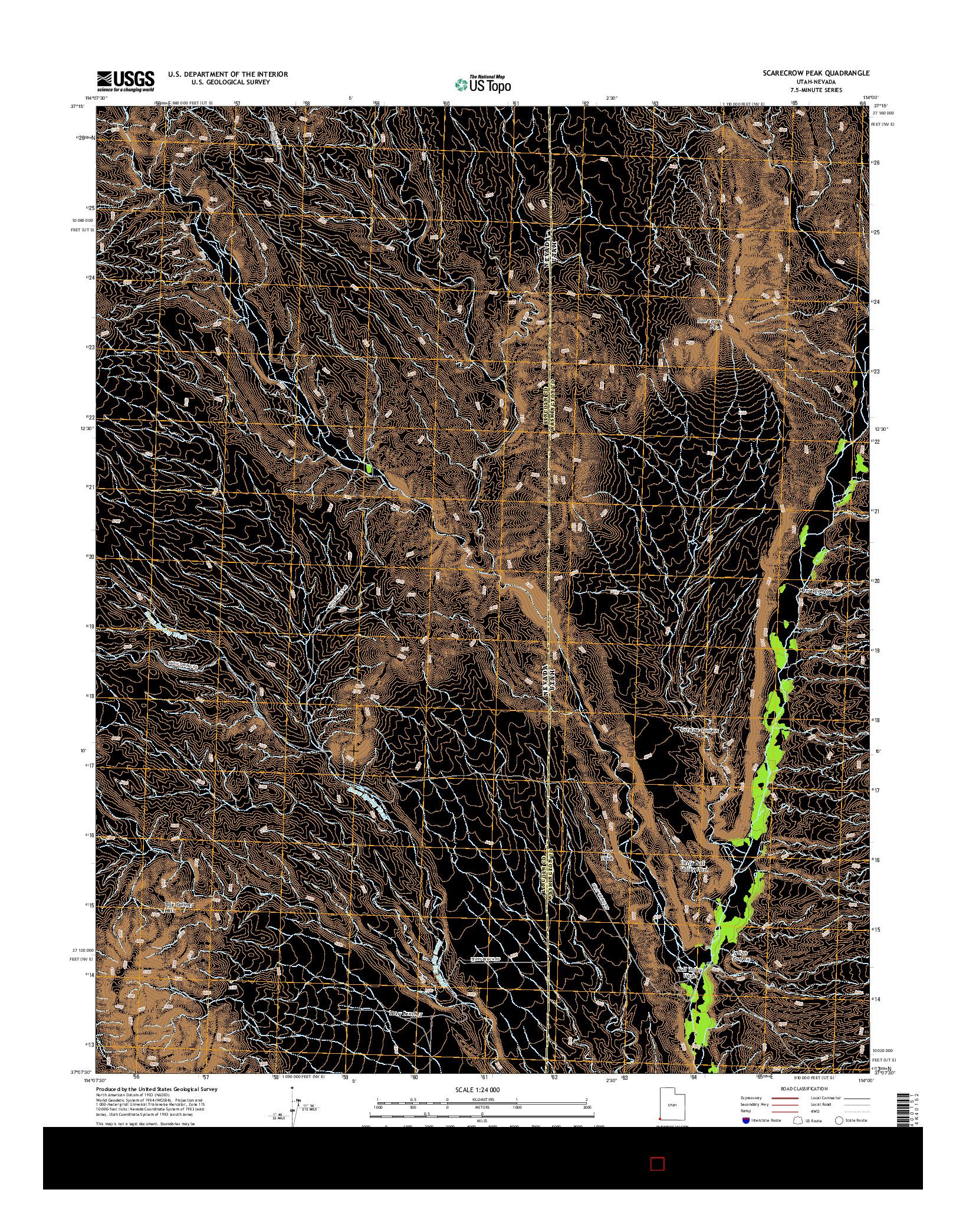 USGS US TOPO 7.5-MINUTE MAP FOR SCARECROW PEAK, UT-NV 2014