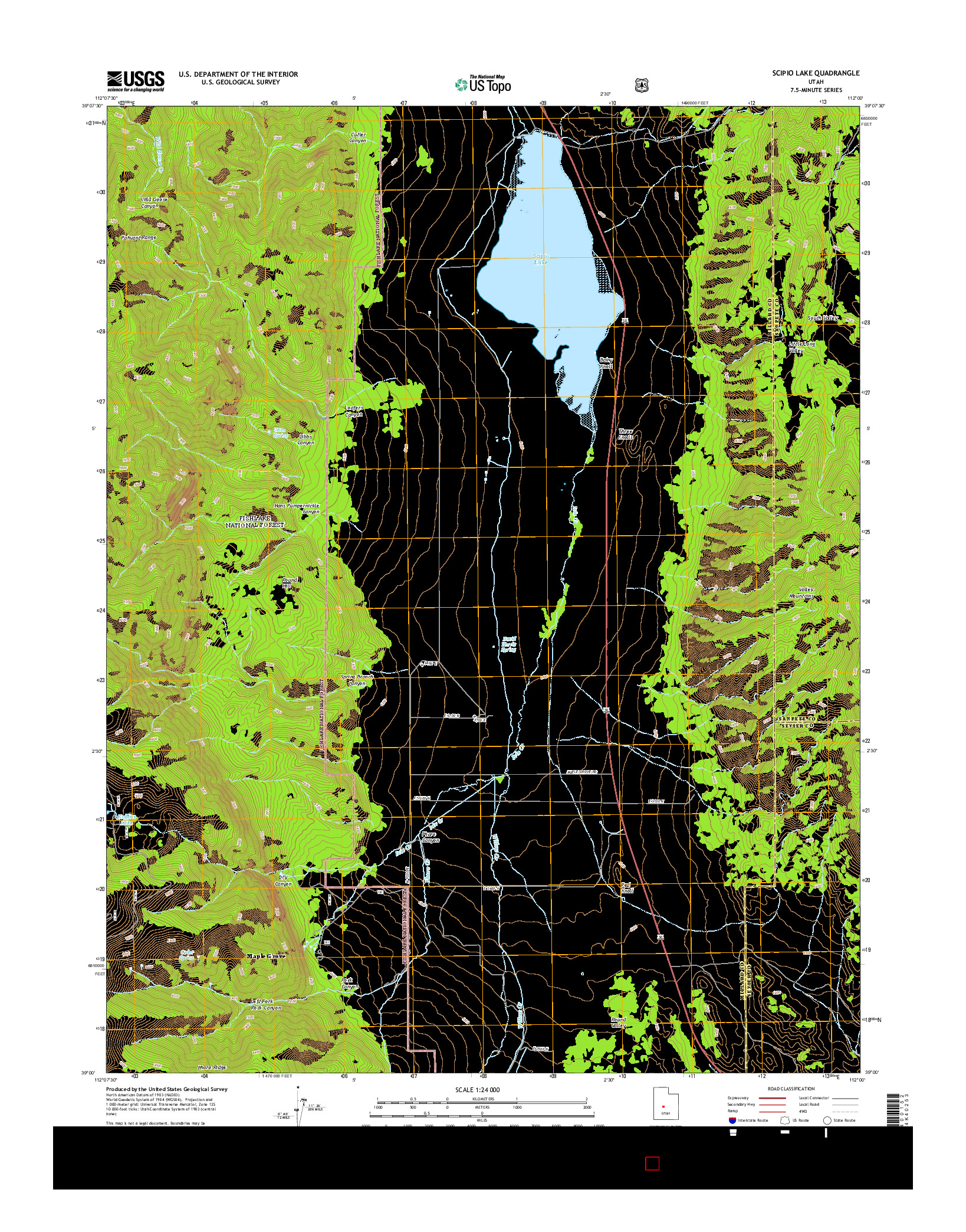 USGS US TOPO 7.5-MINUTE MAP FOR SCIPIO LAKE, UT 2014